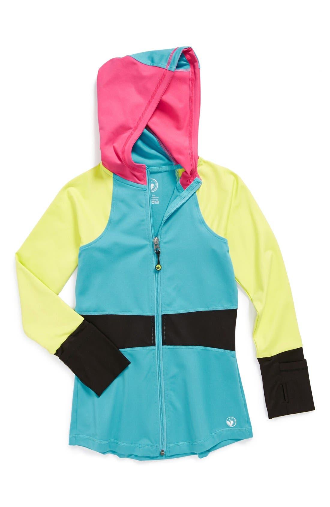 Alternate Image 1 Selected - Limeapple Hooded Jacket (Big Girls)