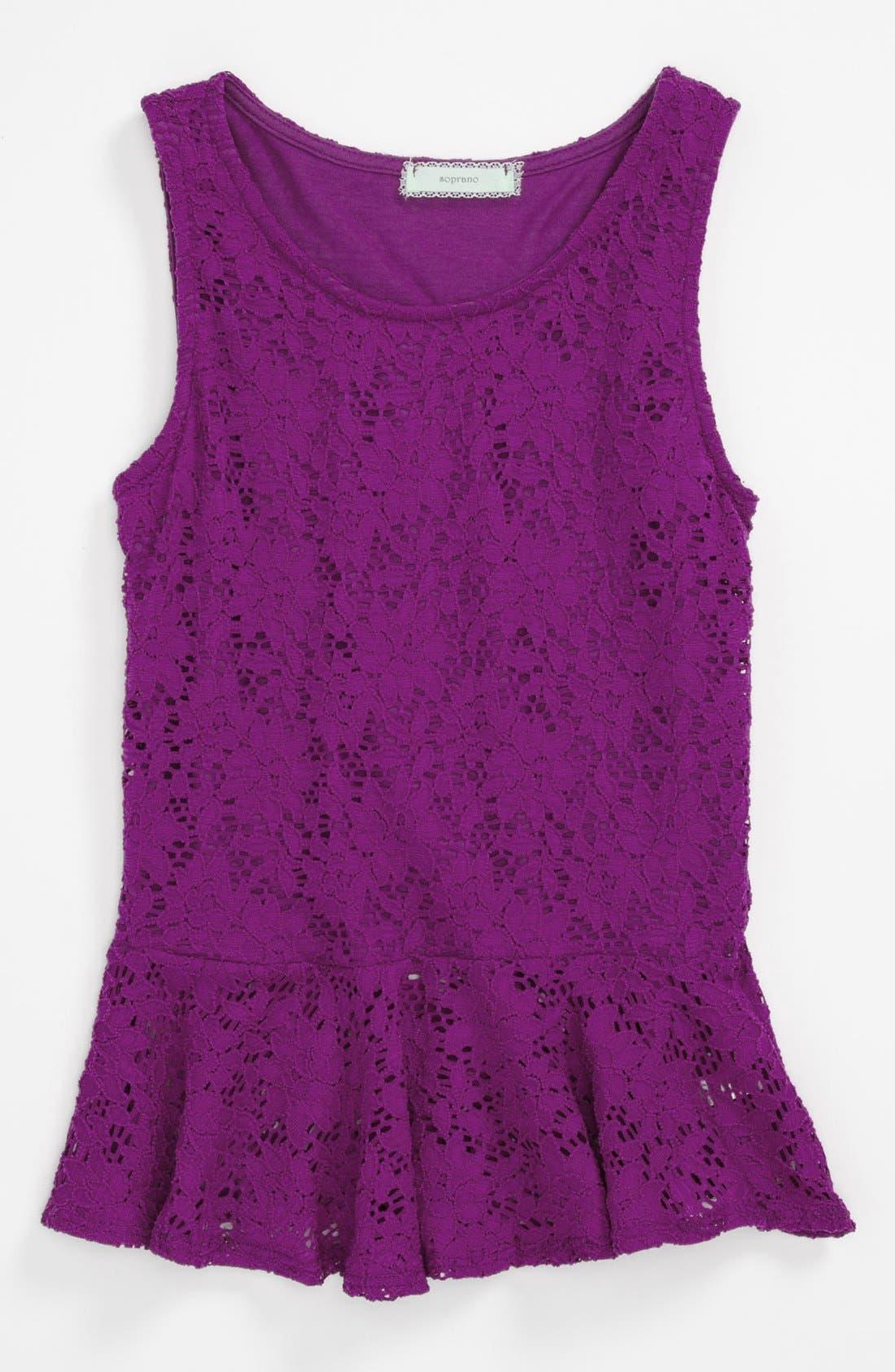 Alternate Image 1 Selected - Soprano Lace Peplum Shirt (Big Girls)