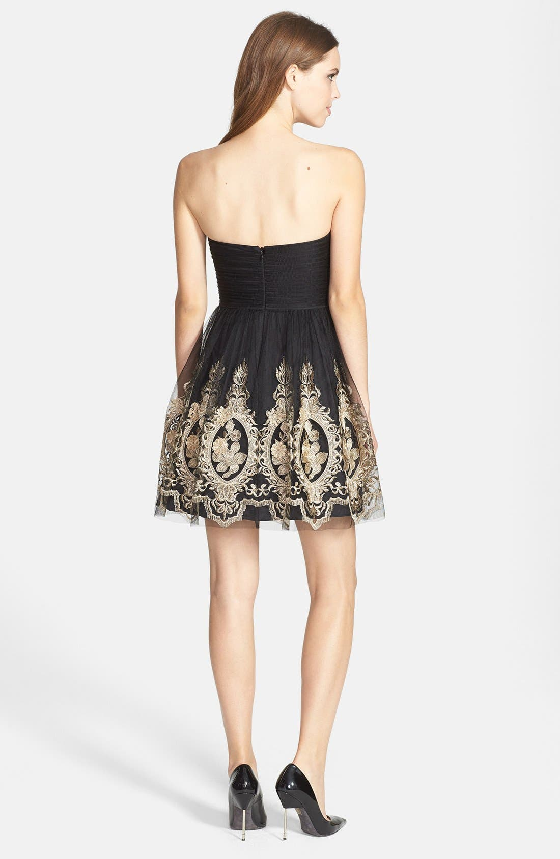 Alternate Image 3  - Aidan Mattox Metallic Embroidered Tulle Fit & Flare Dress