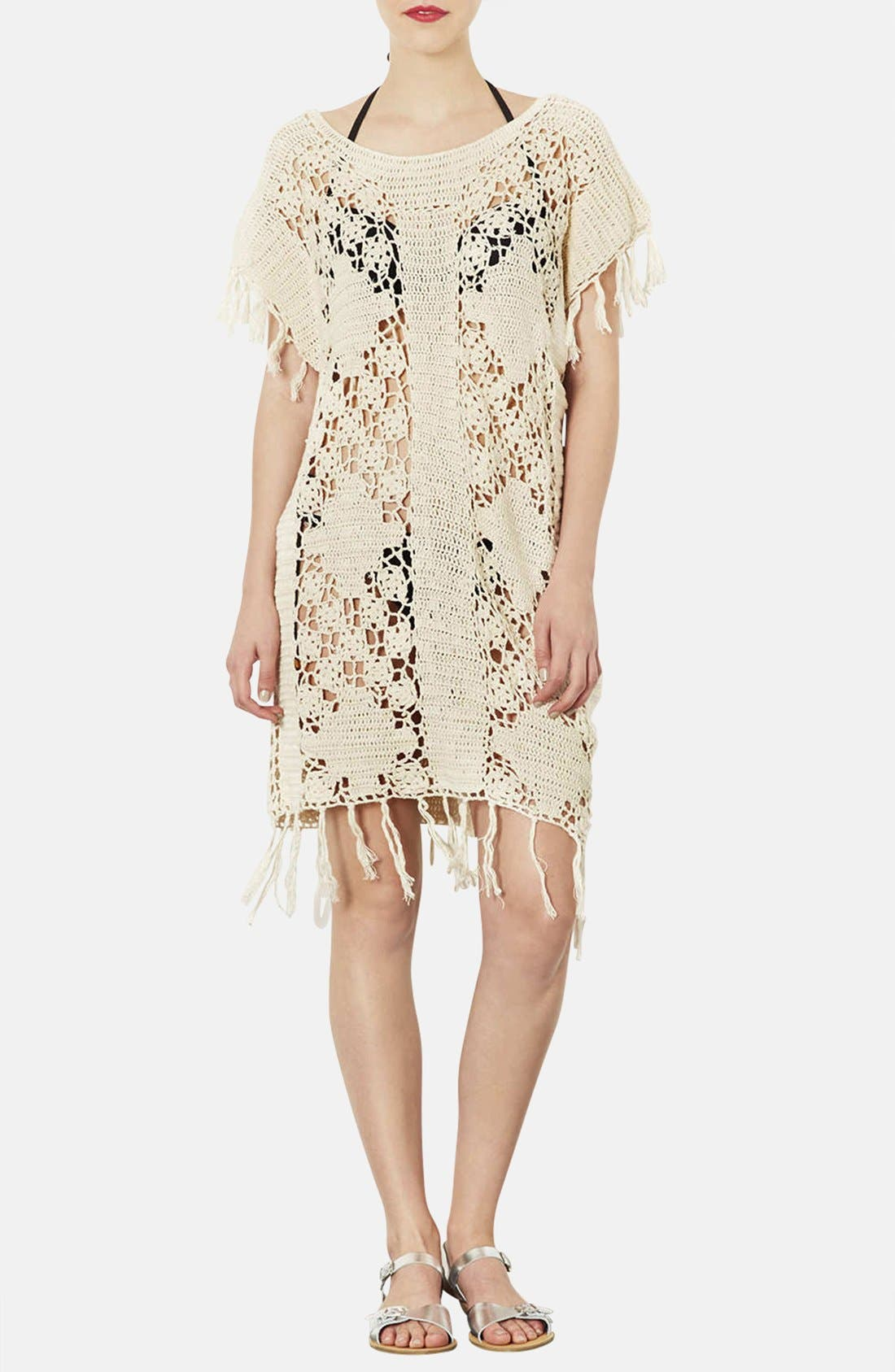 Main Image - Topshop Fringed Crocheted Cover-Up