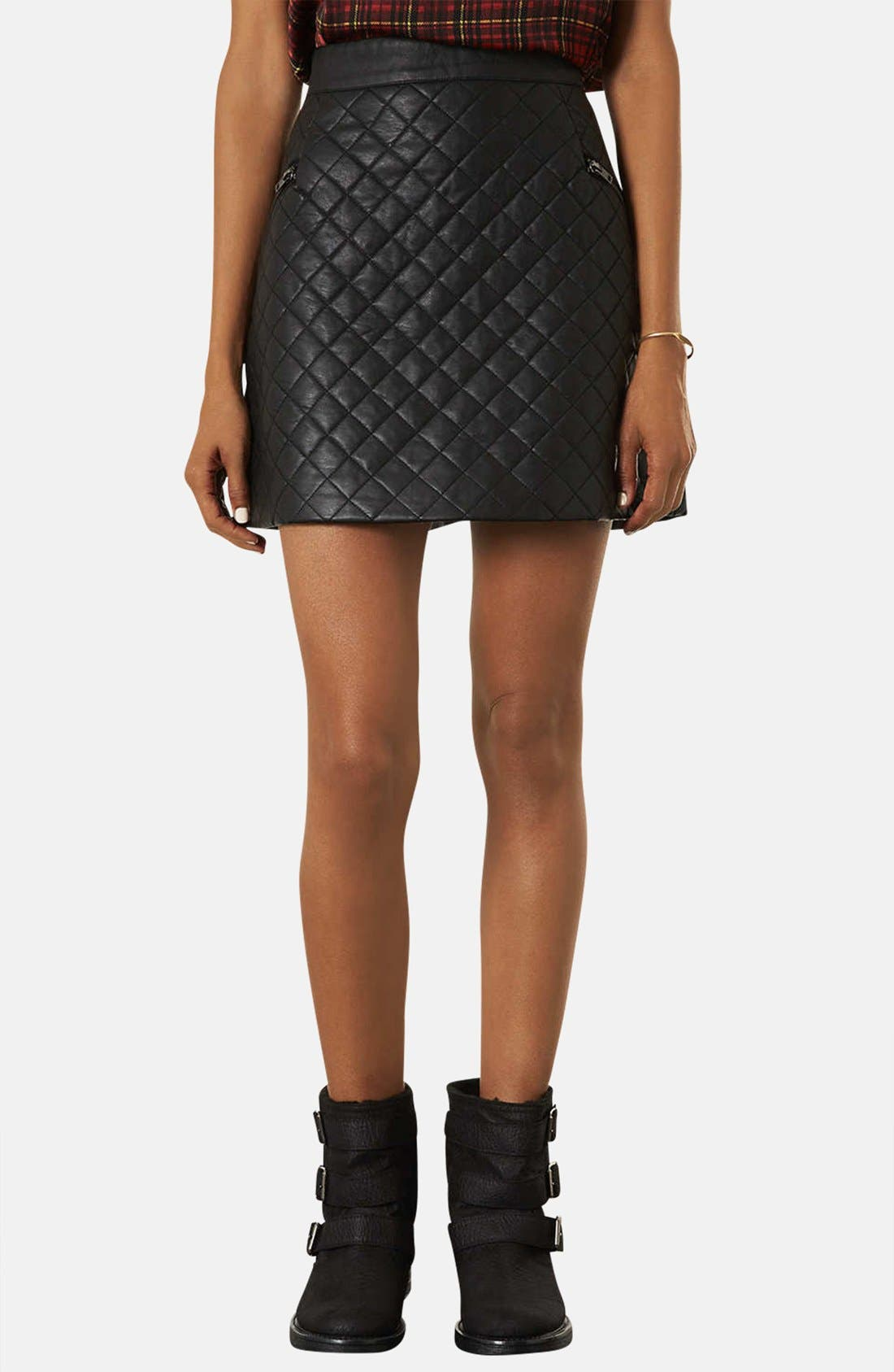 Main Image - Topshop Quilted A-Line Skirt (Petite)