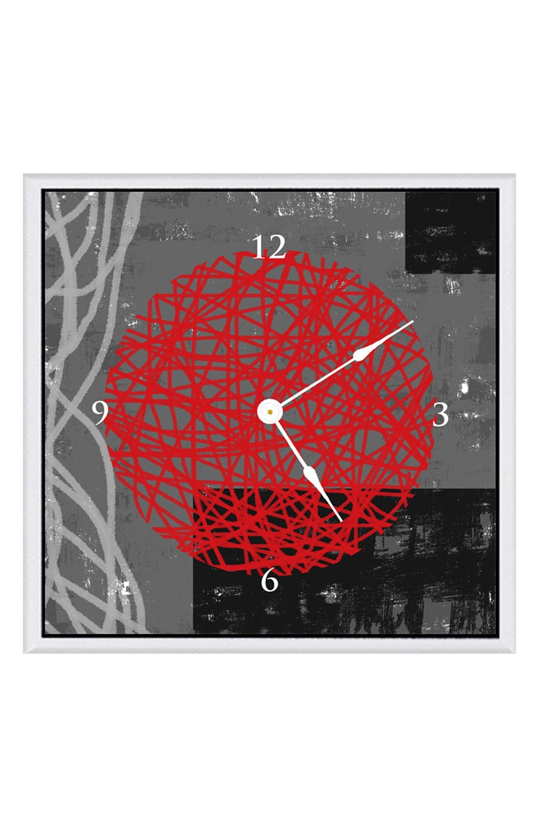 Main Image - Green Leaf Art 'Red Composition I' Clock