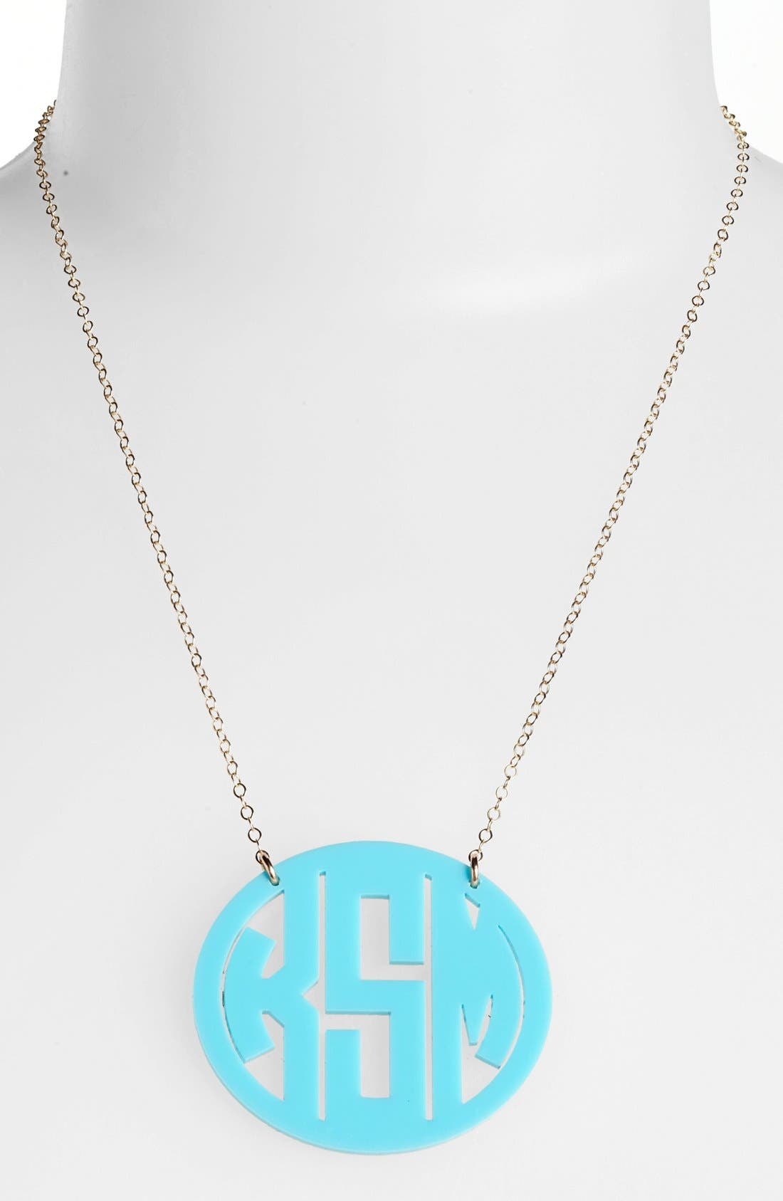 Main Image - Moon and Lola Large Oval Personalized Monogram Pendant Necklace (Nordstrom Exclusive)