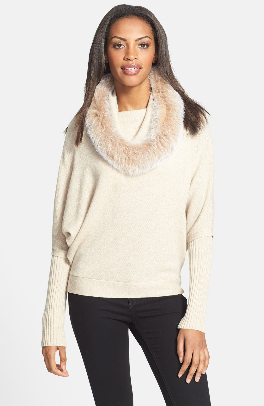 Main Image - Sofia Cashmere Genuine Fox Fur Trim Dolman Sleeve Cashmere Sweater