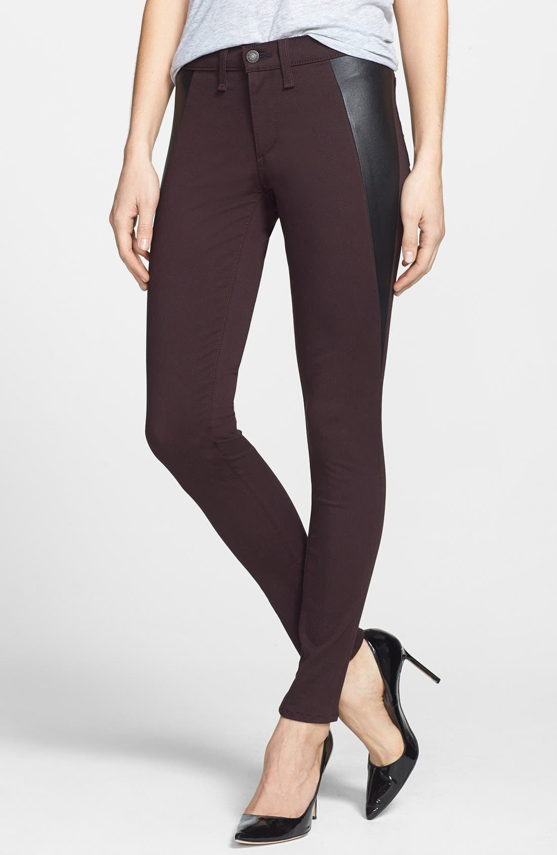 Main Image - rag & bone/JEAN 'Pop' Leather Inset Skinny Jeans (Wine)