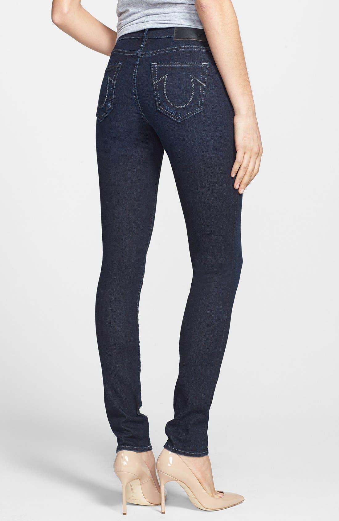 Alternate Image 2  - True Religion Brand Jeans 'Abbey' Super Skinny Jeans (Baltic Ink)