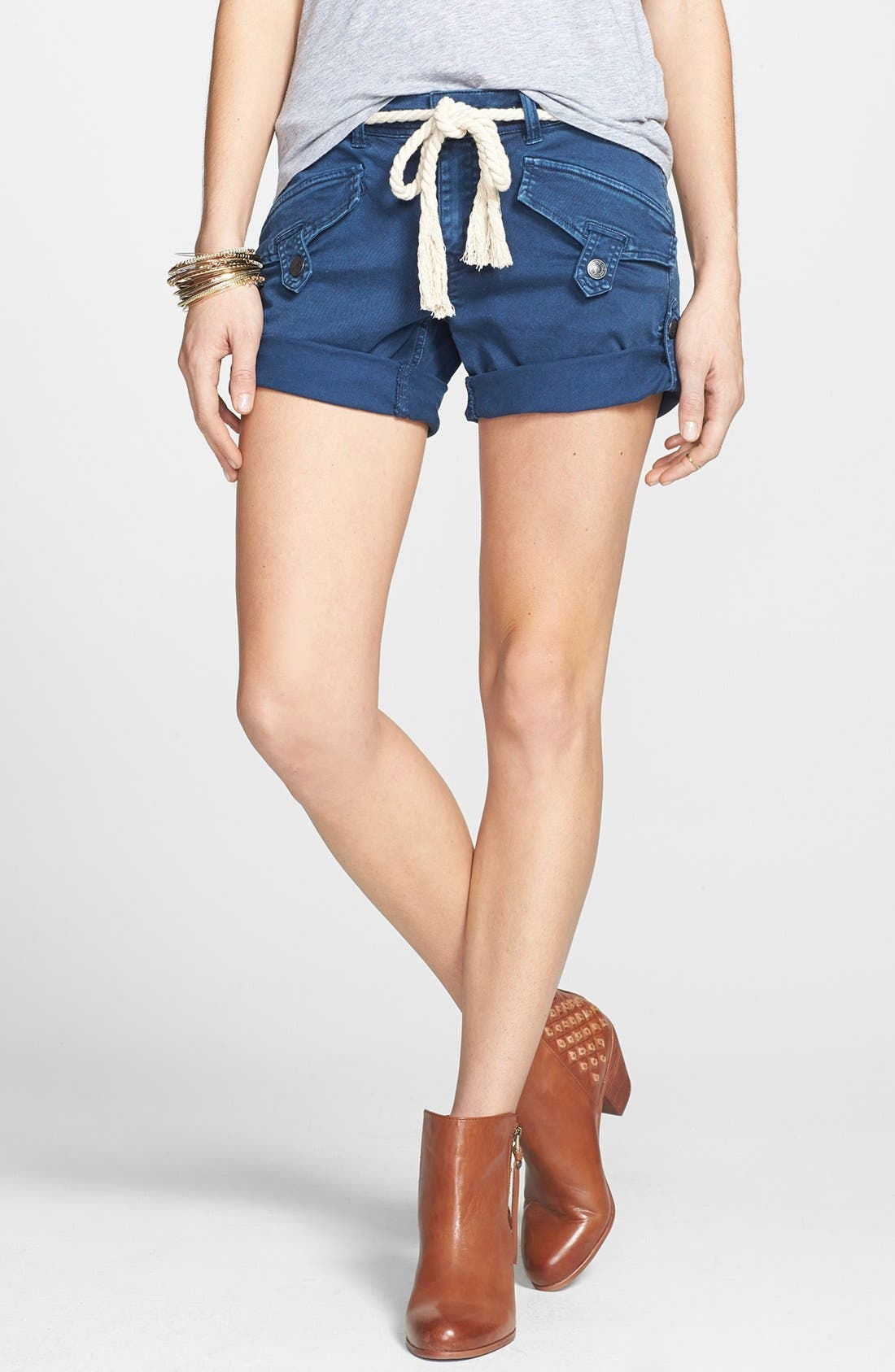 Main Image - Free People 'Nautical' Rope Belted Cuffed Shorts