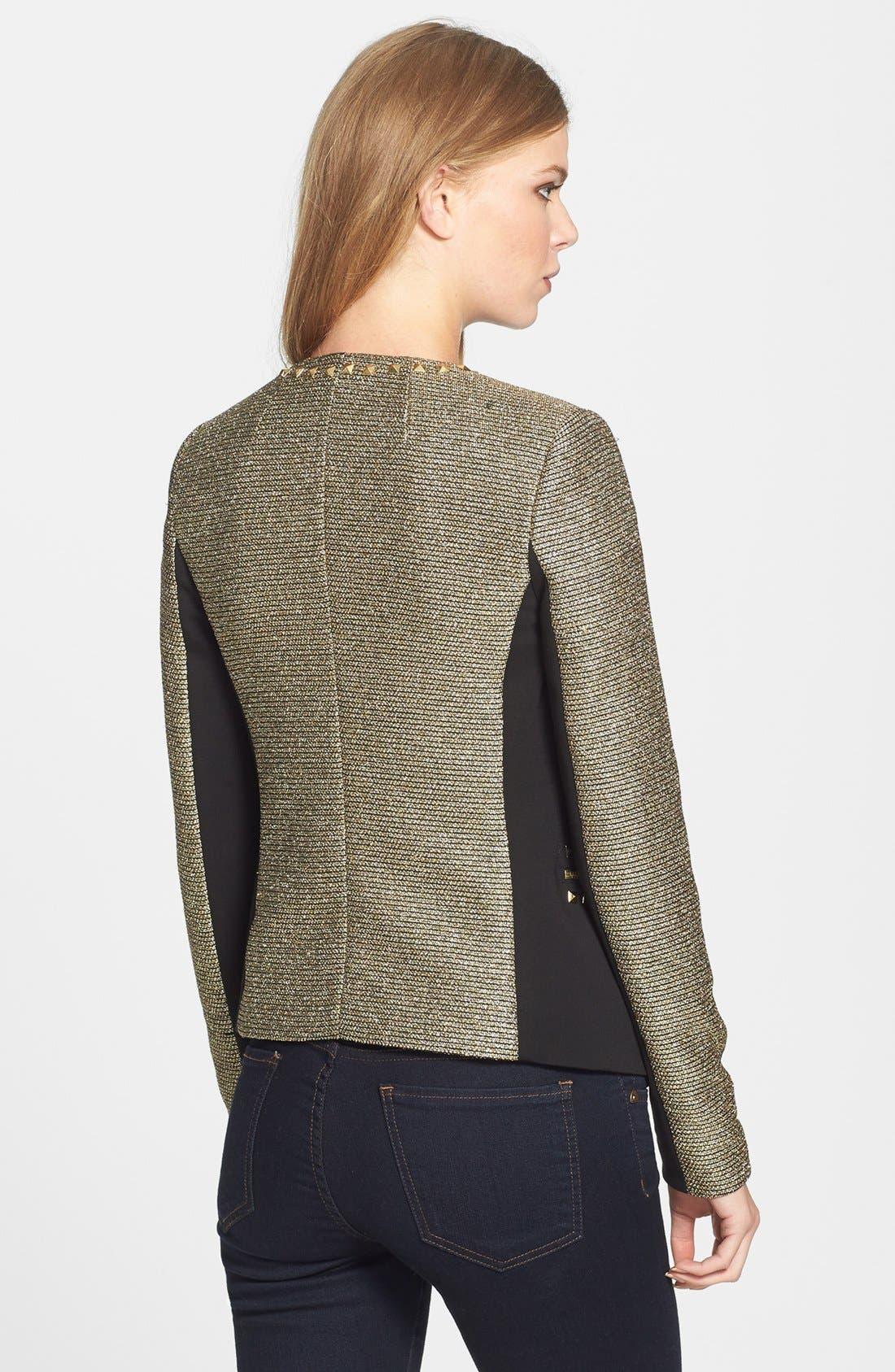 Alternate Image 2  - MICHAEL Michael Kors Metallic Tweed & Ponte Knit Jacket