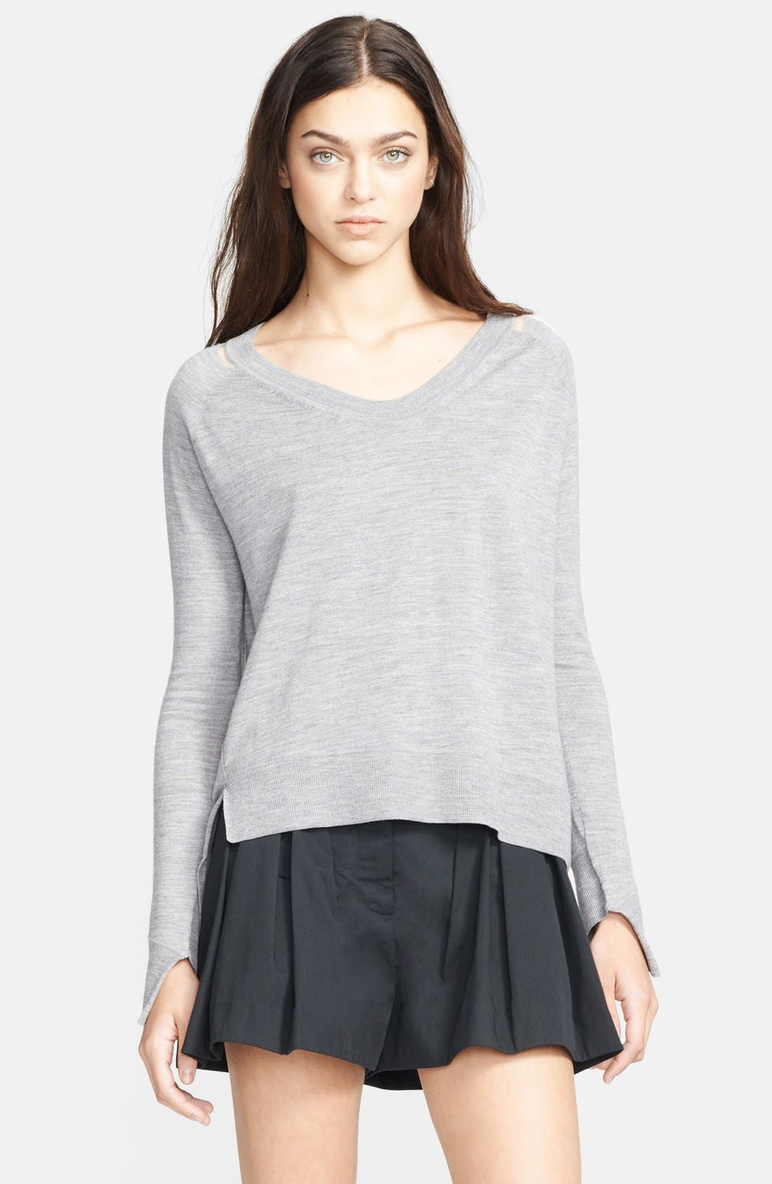 Alternate Image 1 Selected - Alexander Wang Mesh Shoulder Sweater