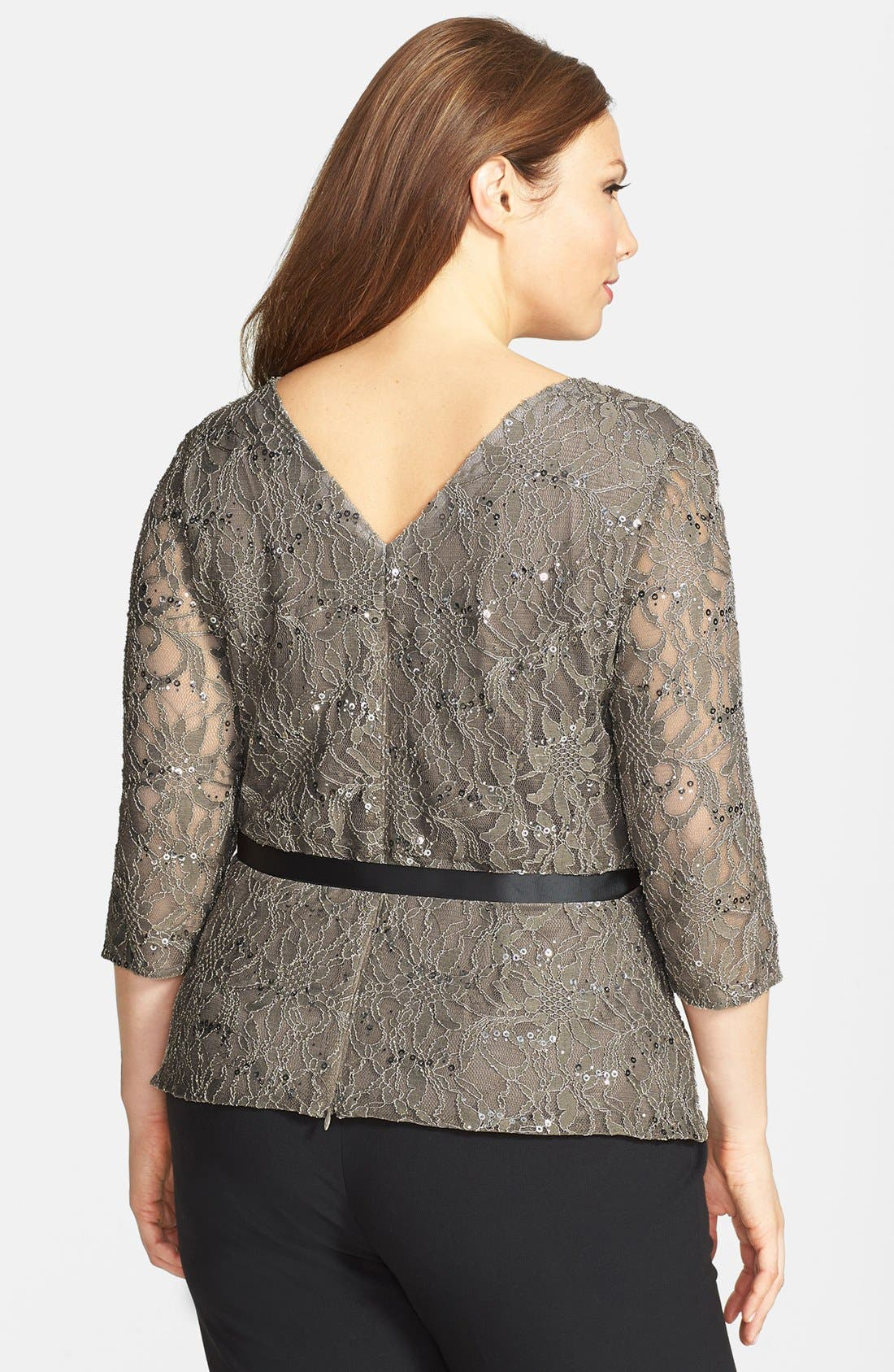 Alternate Image 3  - Alex Evenings Belted Lace Blouse (Plus Size)