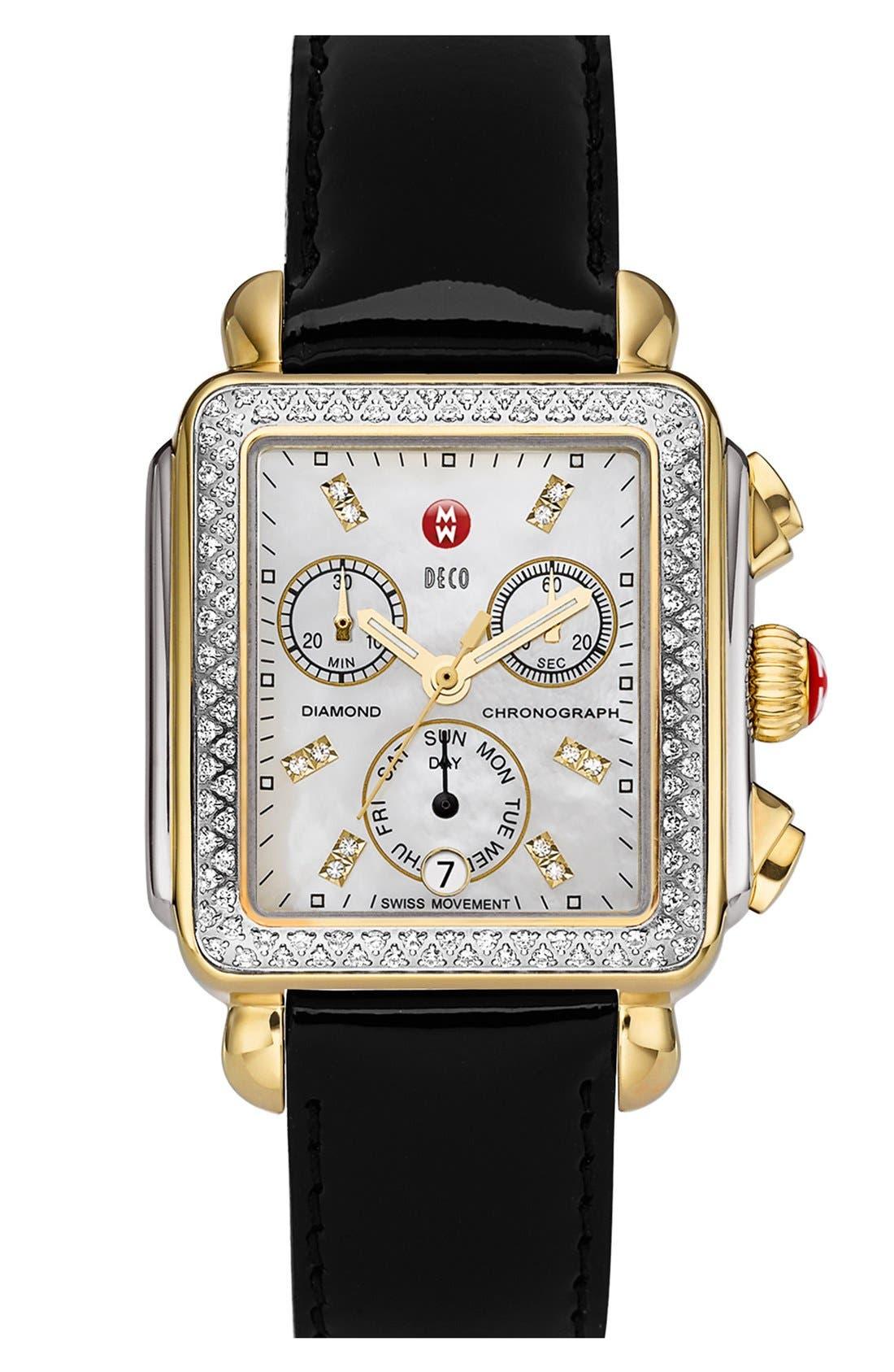 Alternate Image 2  - MICHELE 'Deco Diamond' Two-Tone Watch Case & 18mm Patent Leather Strap