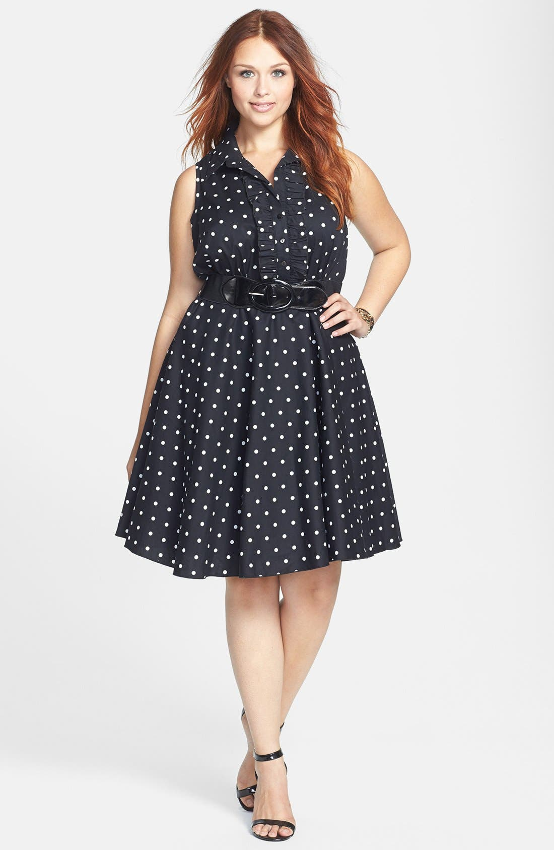 Alternate Image 1 Selected - City Chic Polka Dot Cotton Sateen Fit & Flare Dress (Plus Size)