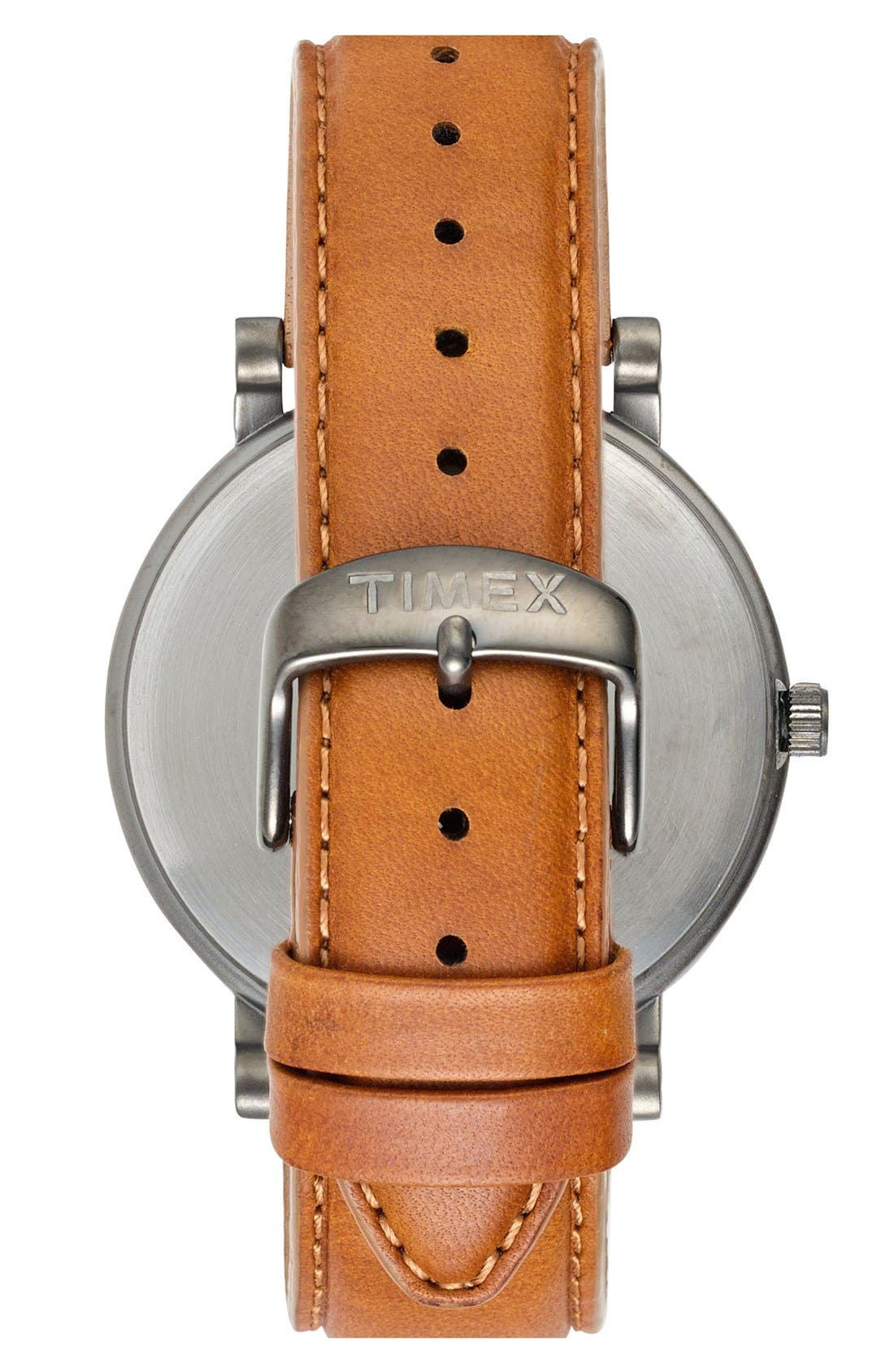 Alternate Image 2  - Timex® Round Leather Strap Watch, 42mm