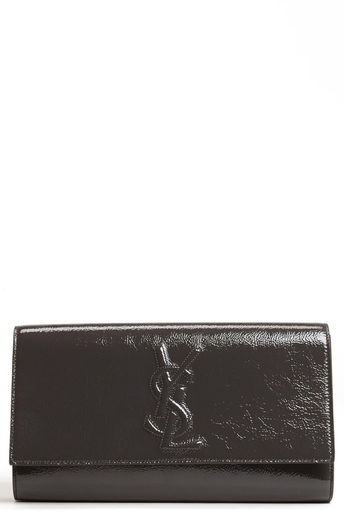 Main Image - Yves Saint Laurent 'Belle de Jour - Large' Patent Envelope Clutch