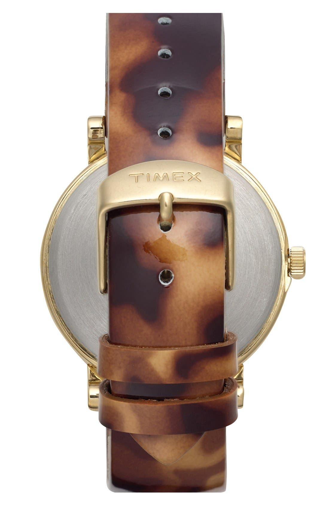 Alternate Image 2  - Timex® Round Patent Leather Strap Watch, 38mm