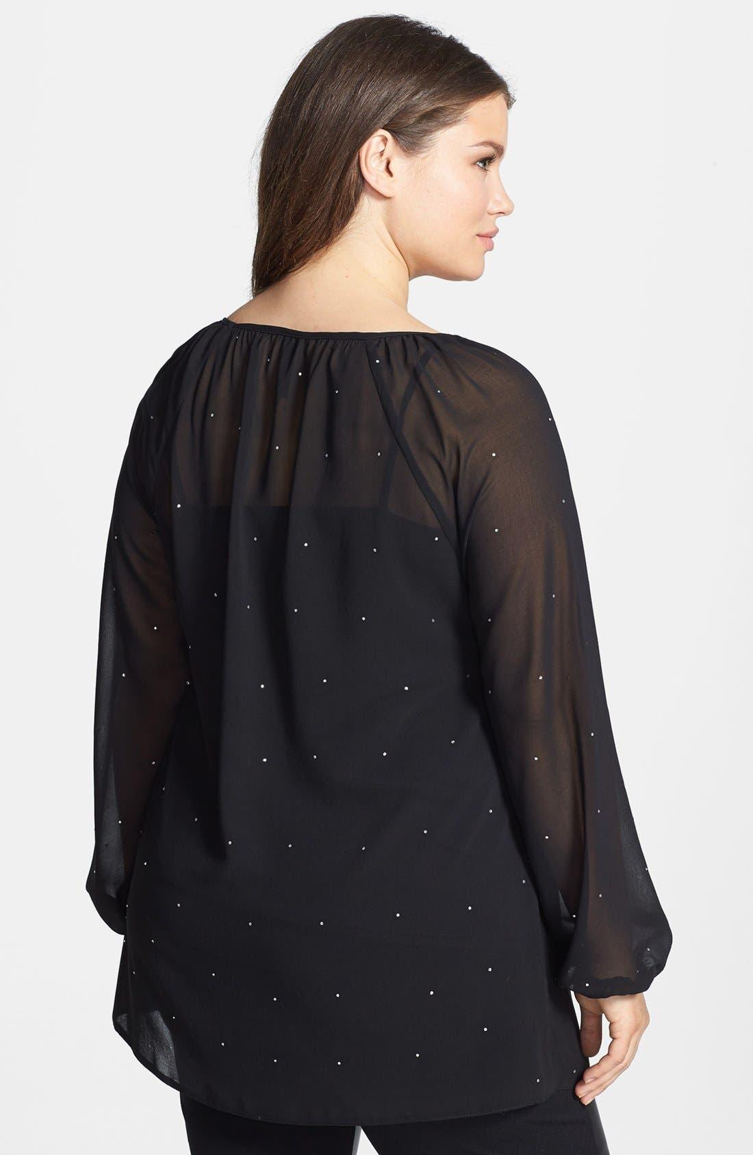 Alternate Image 2  - Evans 'Diamante' Embellished Chiffon Blouse (Plus Size)