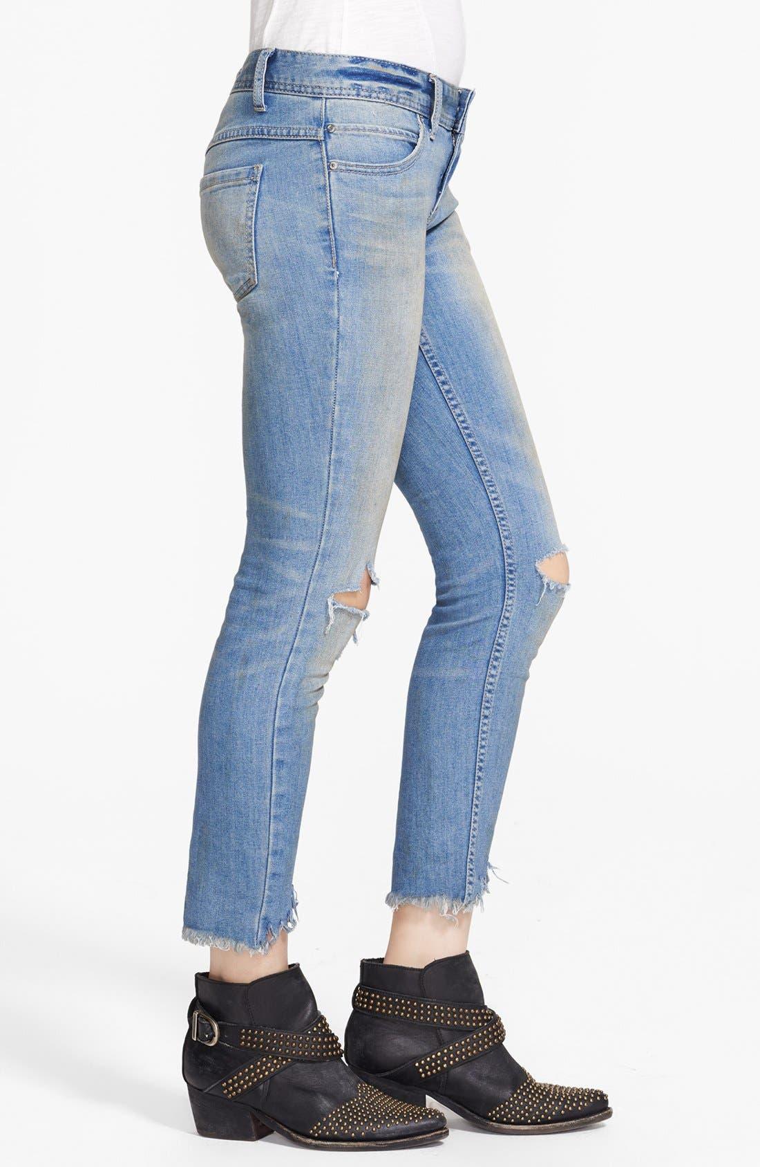 Alternate Image 4  - Free People Destroyed Skinny Ankle Jeans (Engineered Wash)