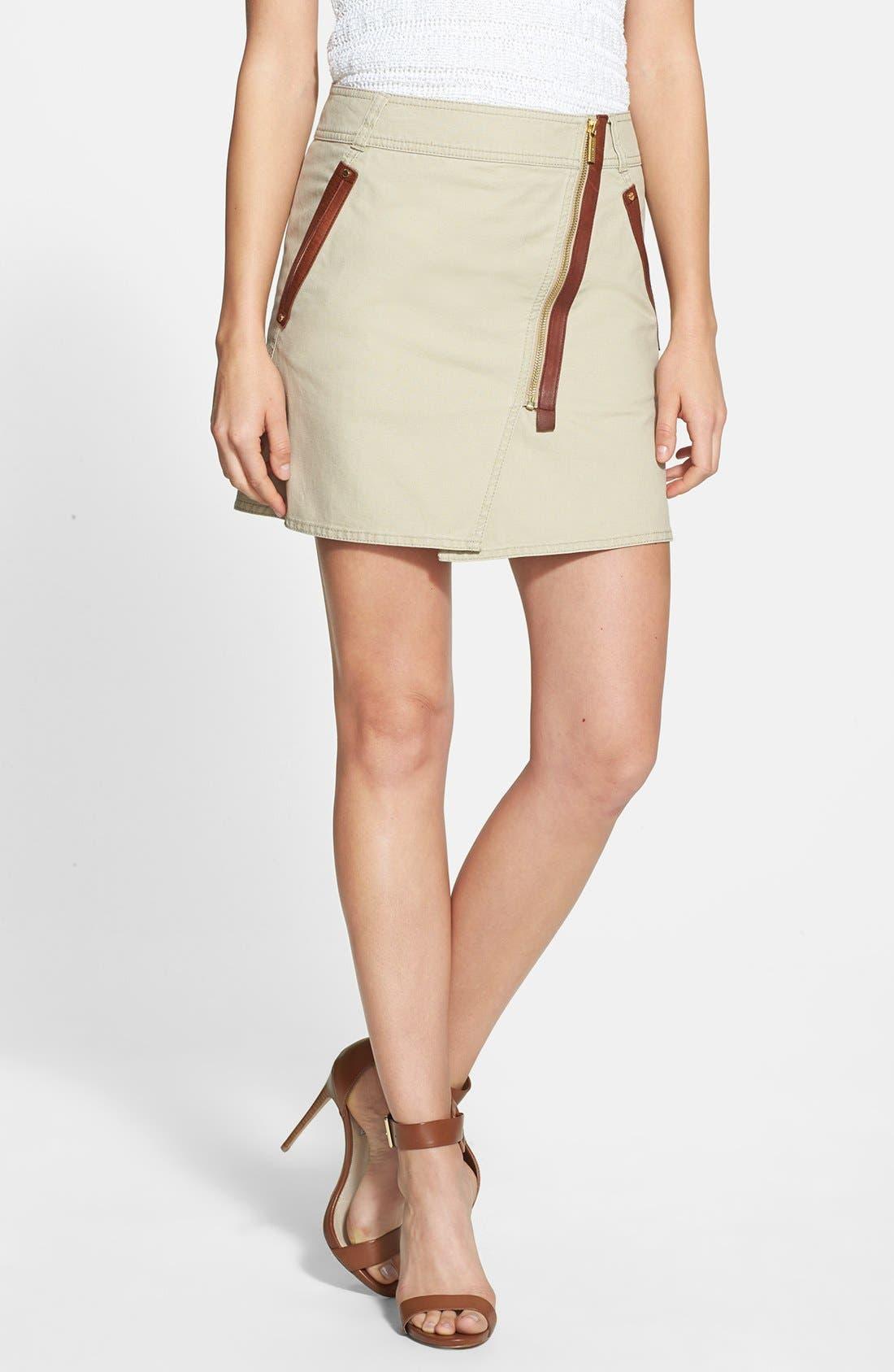 Alternate Image 1 Selected - MICHAEL Michael Kors Asymmetrical Zip Cotton Twill Skirt