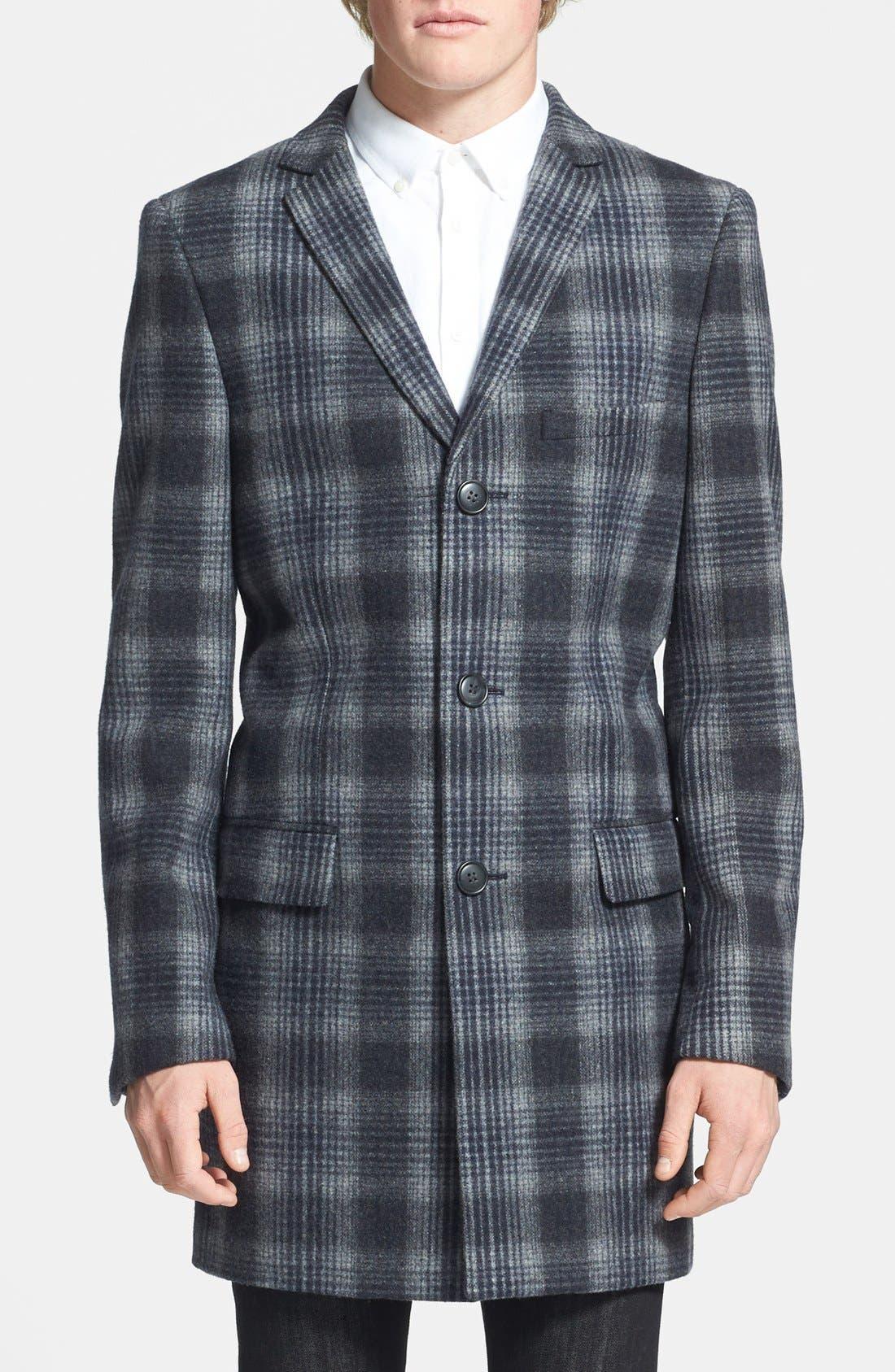 Alternate Image 1 Selected - Topman Plaid Wool Blend Coat