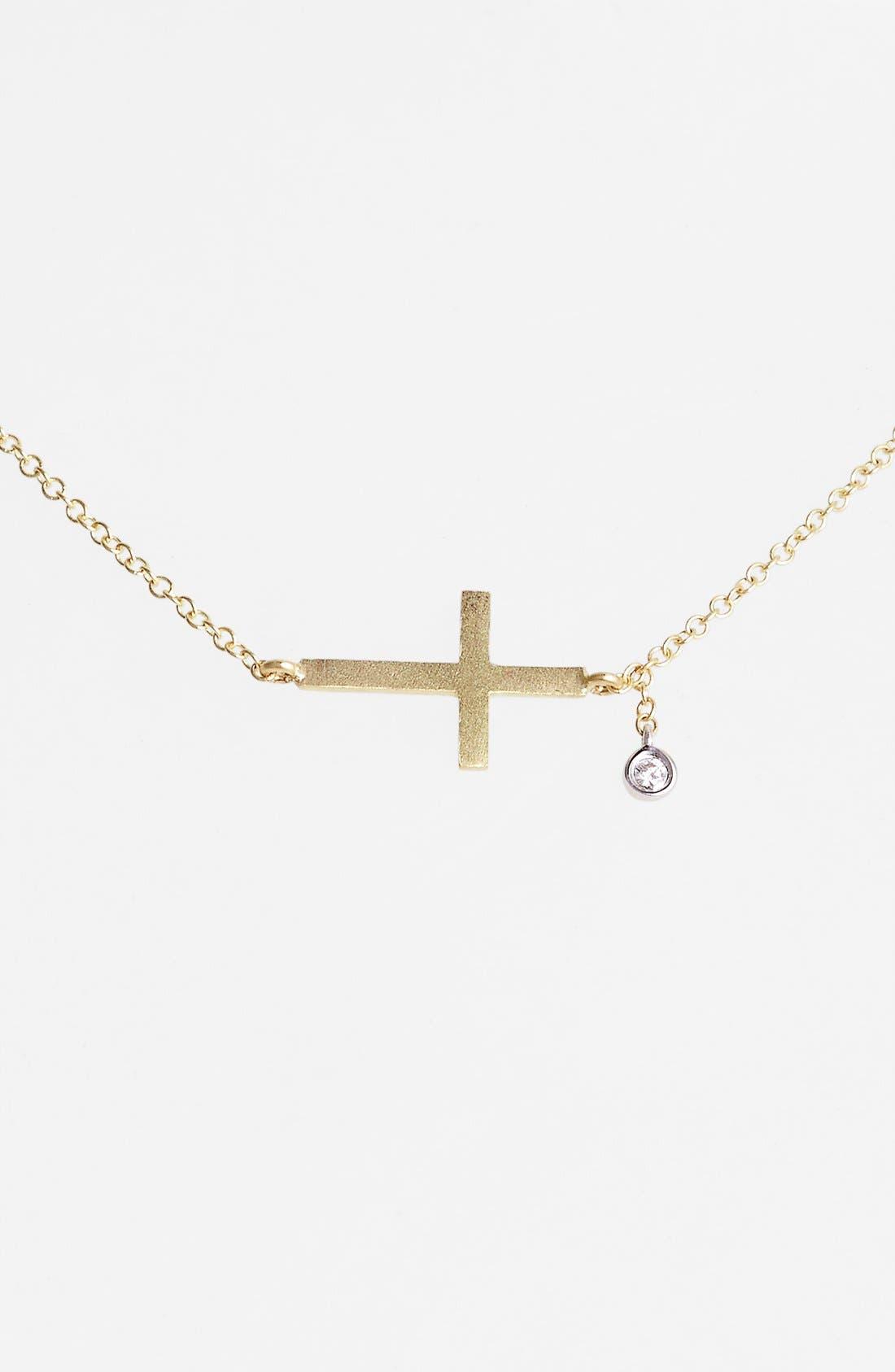 Main Image - MeiraT 'Charmed' Diamond Cross Pendant Necklace