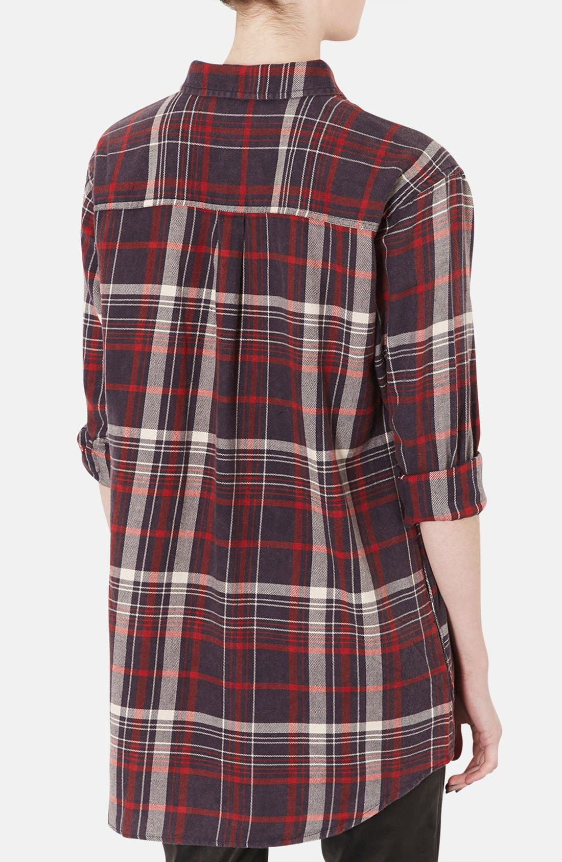 Alternate Image 2  - Topshop Check Print Oversized Cotton Shirt