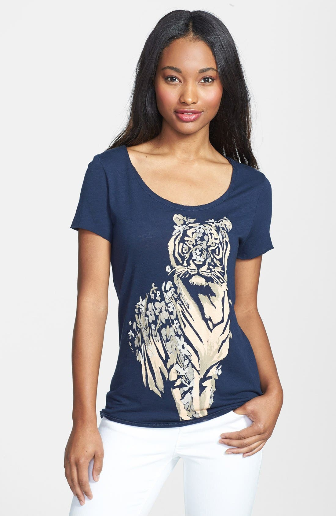 Alternate Image 1 Selected - Lucky Brand Floral Tiger Tee