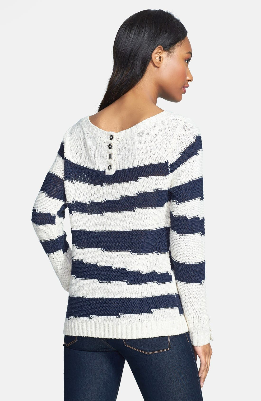 Alternate Image 2  - Lucky Brand 'Atwater' Intarsia Stripe Cotton Blend Sweater