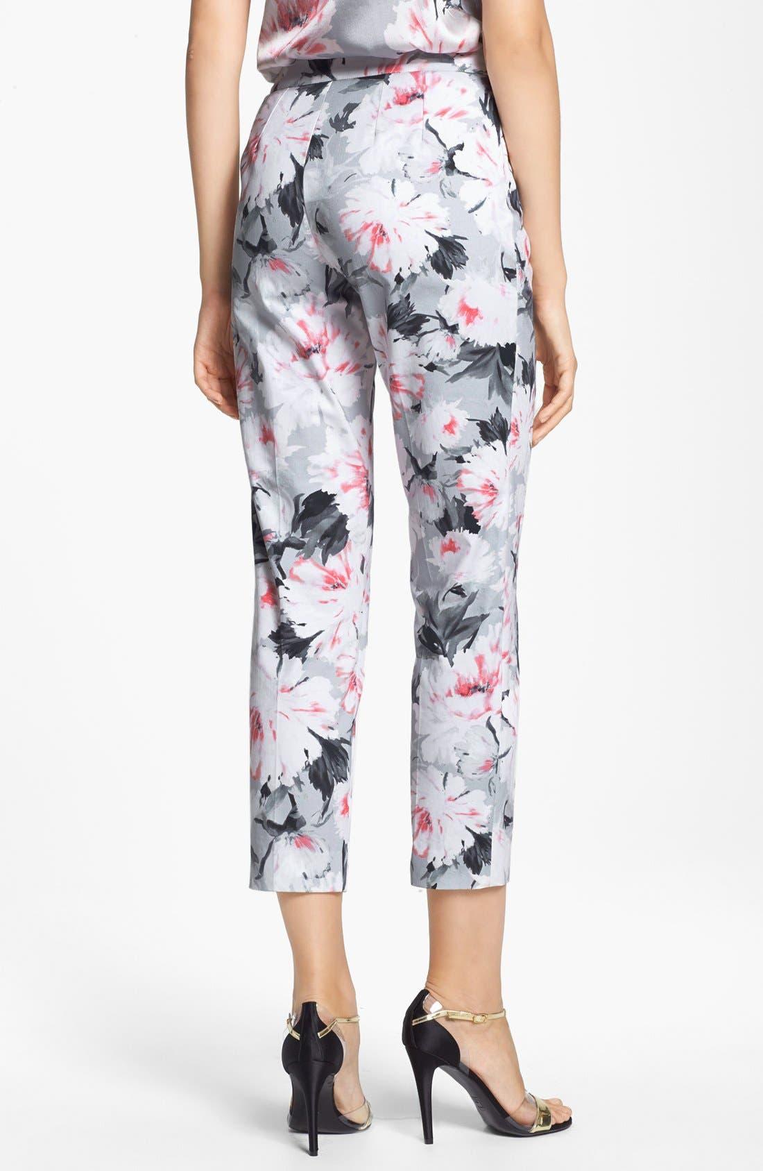 Alternate Image 3  - St. John Collection 'Emma' Dahlia Print Sateen Crop Pants (Online Only)