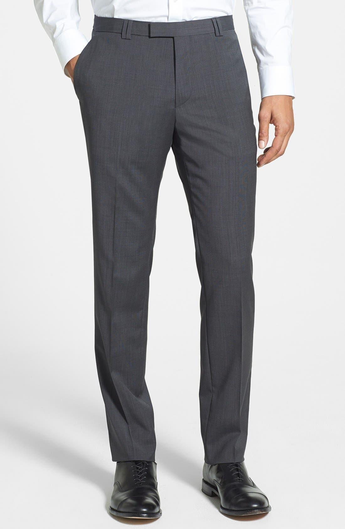 Alternate Image 1 Selected - HUGO 'Heibo' Flat Front Wool Trousers