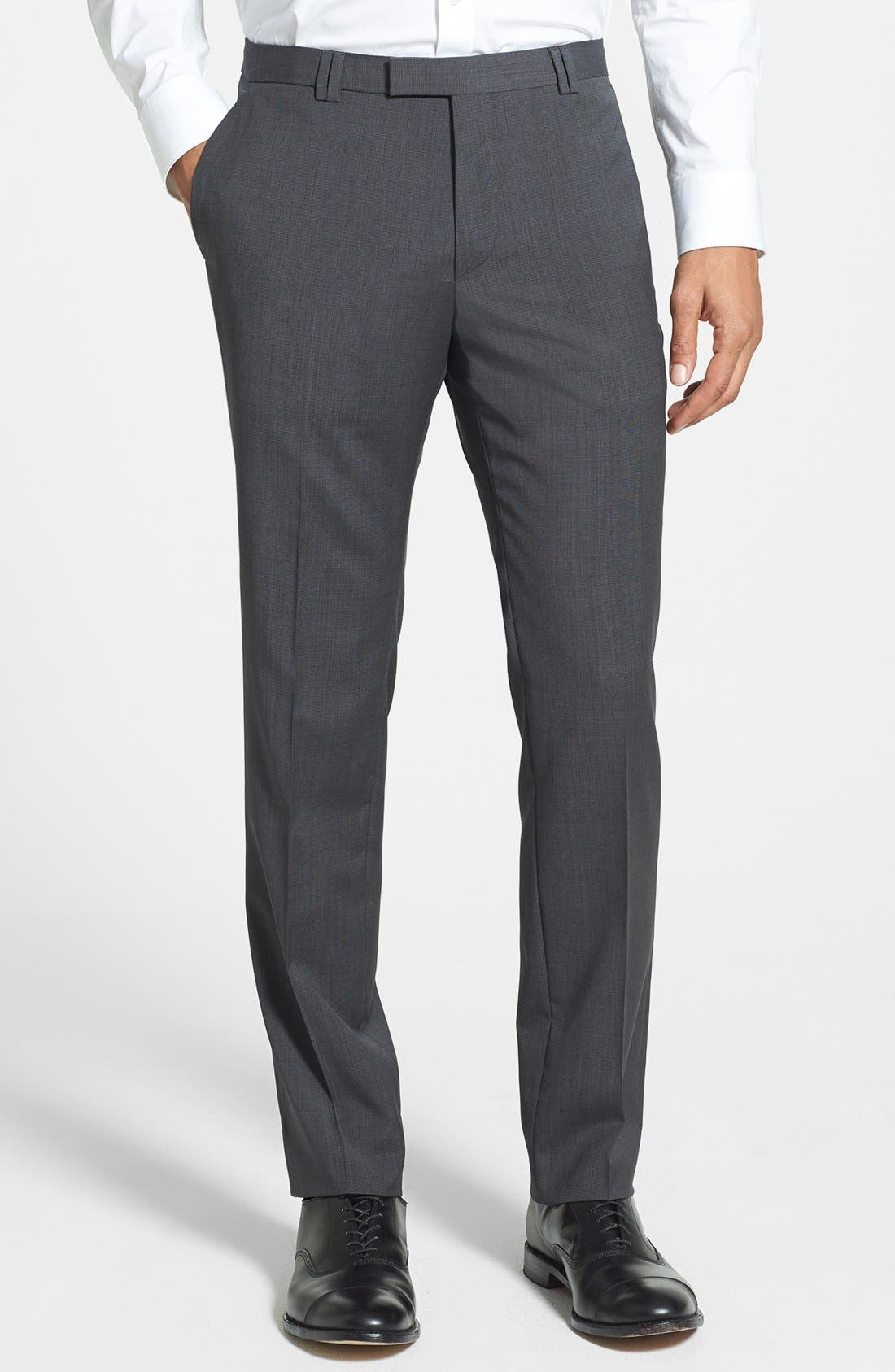 Main Image - HUGO 'Heibo' Flat Front Wool Trousers