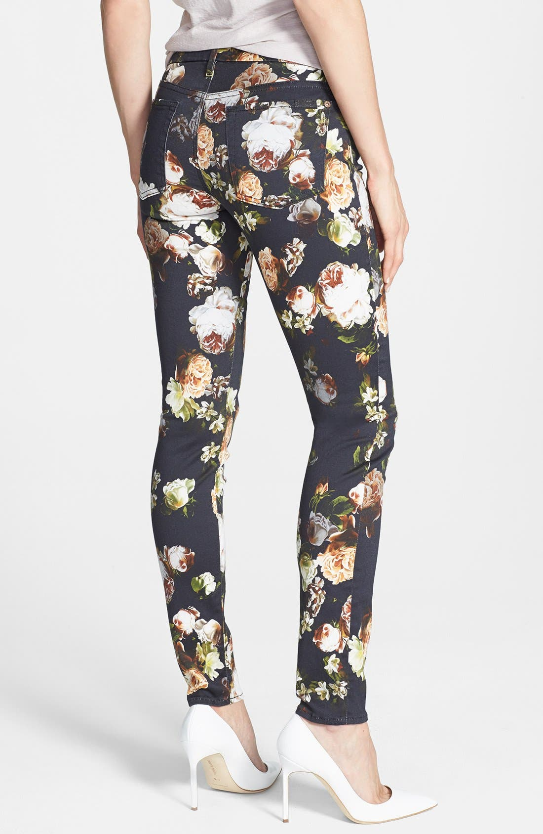 Alternate Image 2  - 7 For All Mankind® 'The Skinny' Floral Pattern Jeans (Nighttime Floral)