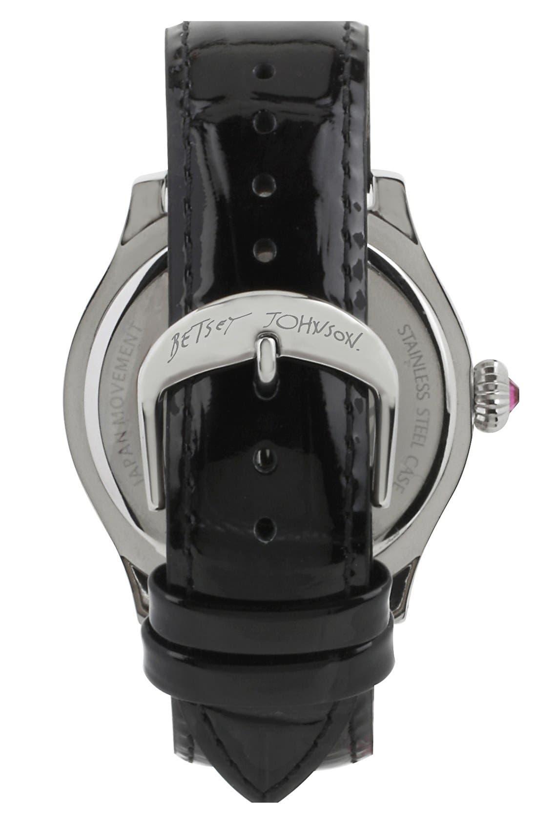 Alternate Image 2  - Betsey Johnson 'Bling Bling Time' Skull Dial Leather Strap Watch