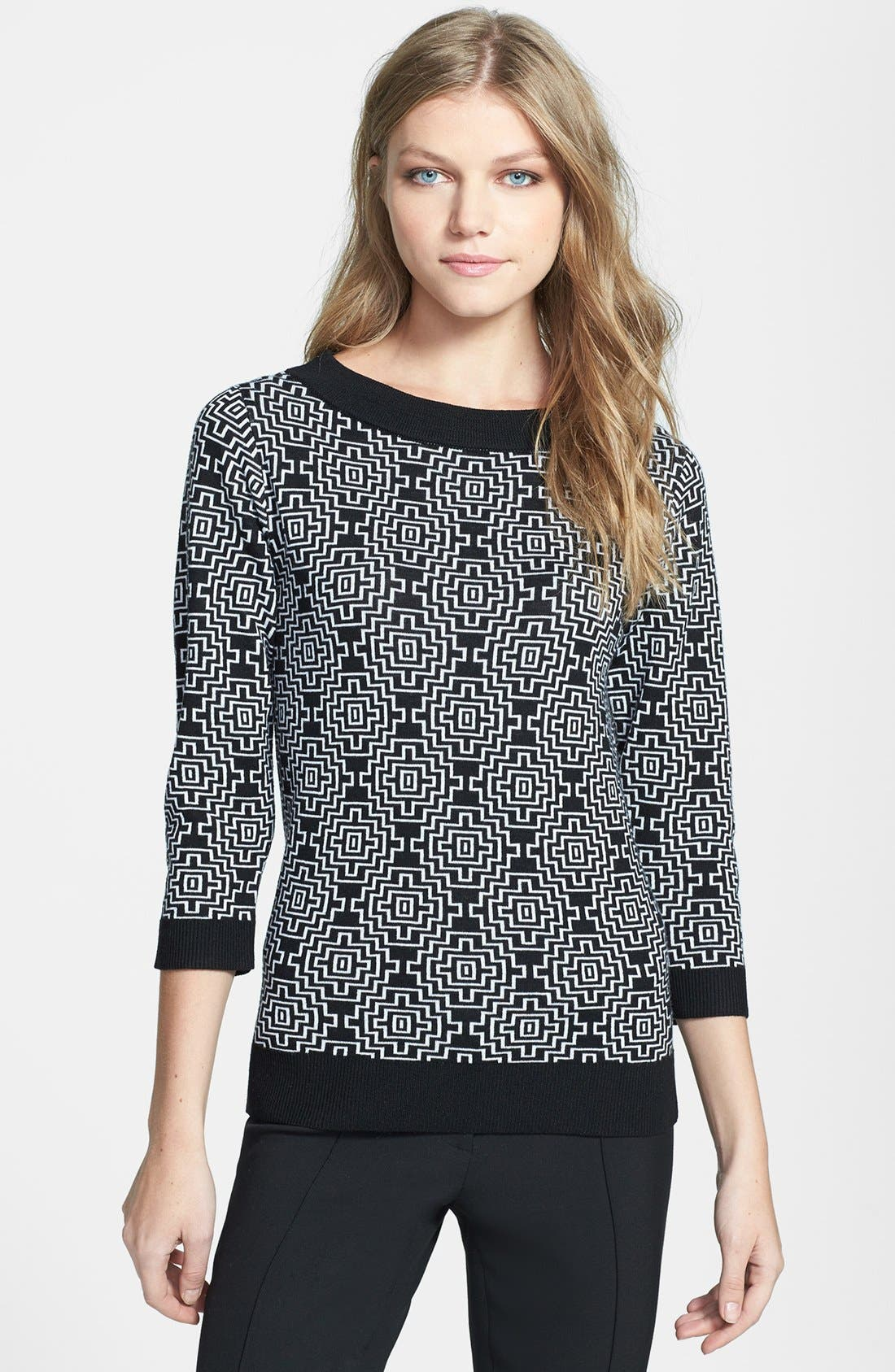 Alternate Image 1 Selected - Classiques Entier® 'Bella Lana' Pattern Wool Pullover