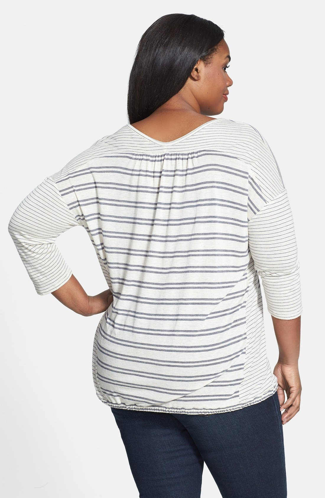 Alternate Image 2  - Lucky Brand Stripe Tie Front Top (Plus Size)