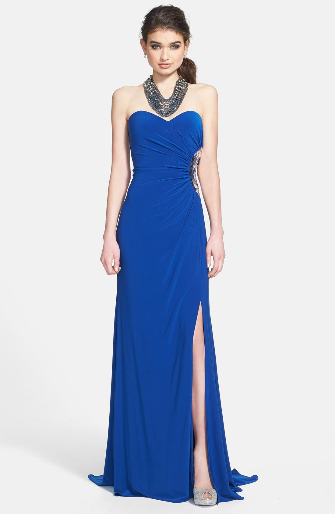 Alternate Image 1 Selected - Hailey Logan Embellished Cutout Strapless Gown (Juniors) (Online Only)