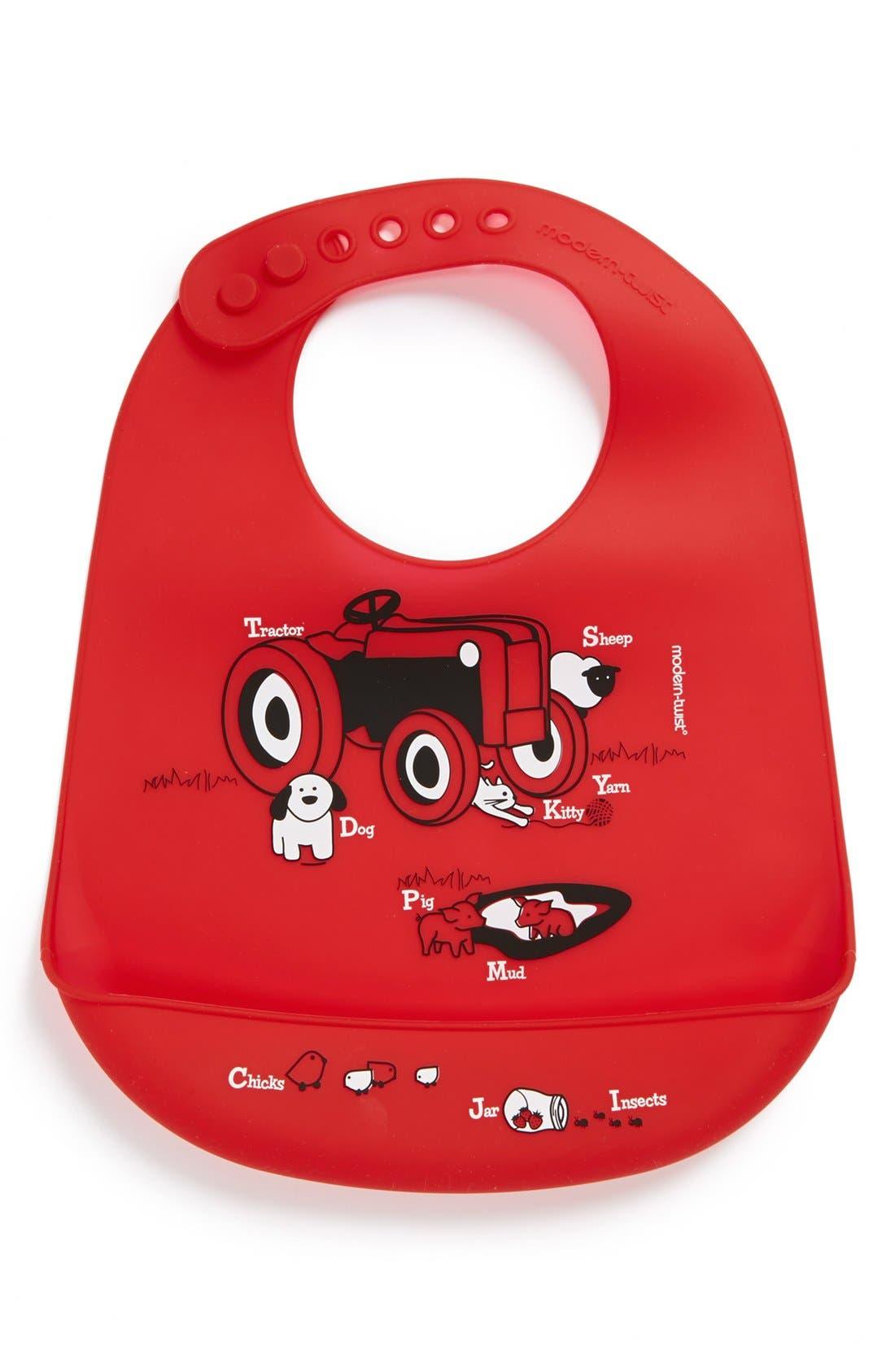 Main Image - Modern Twist 'Bucket Bib - Farm Buddies Tractor' Silicone Bib (Toddler)