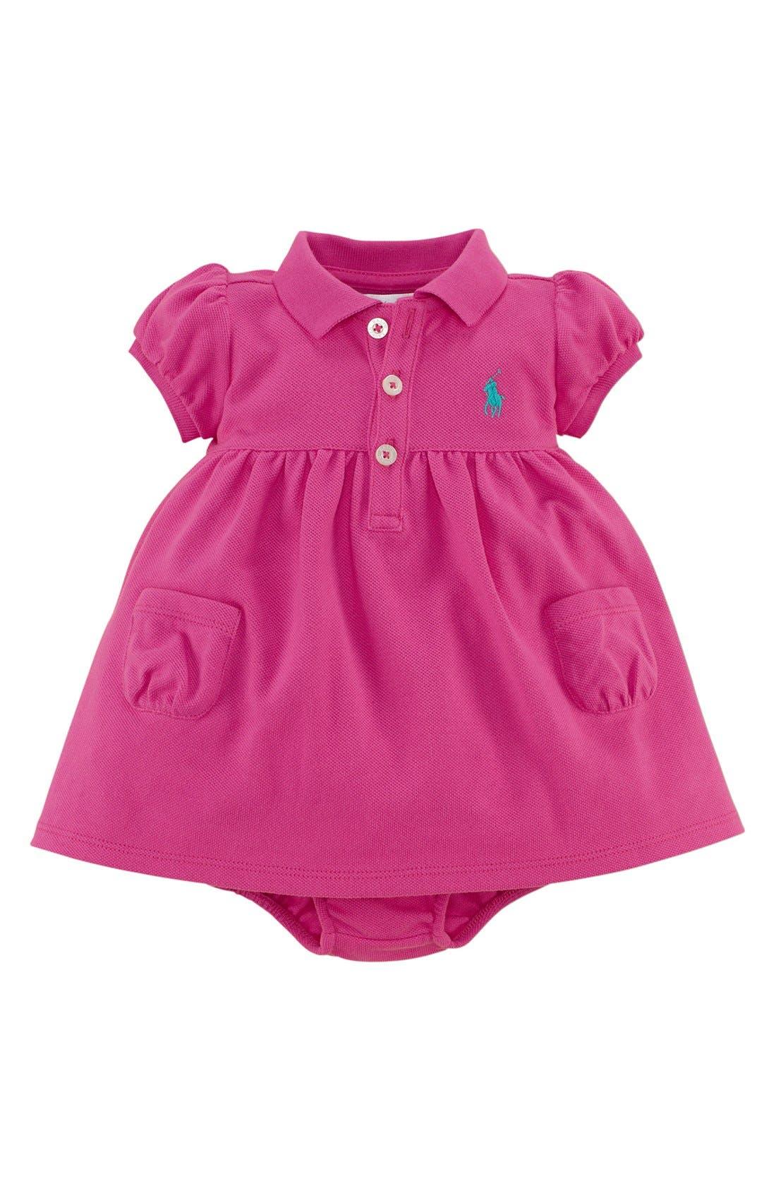 Main Image - Ralph Lauren Cotton Polo Dress & Bloomers (Baby Girls)