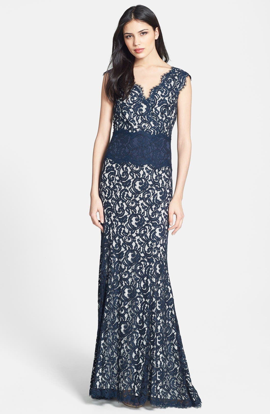 Alternate Image 1 Selected - Tadashi Shoji V-Neck Lace Gown (Regular & Petite)