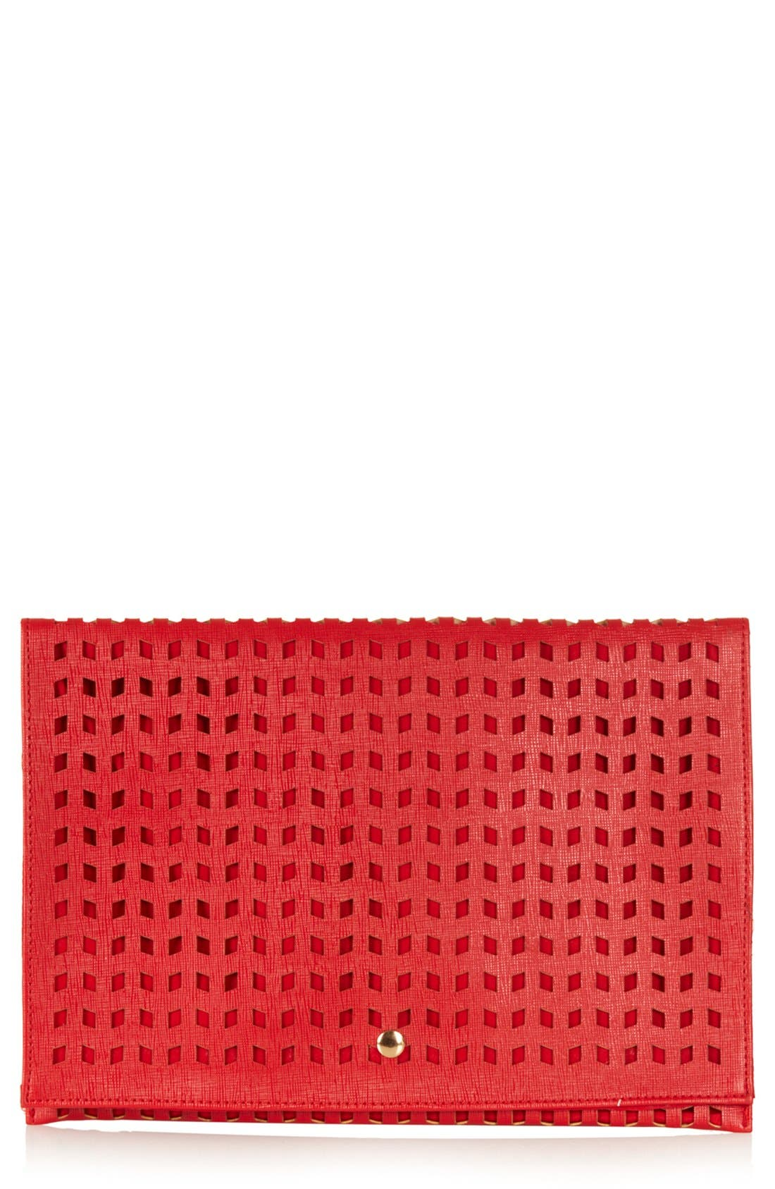 Main Image - Topshop Perforated Foldover Clutch