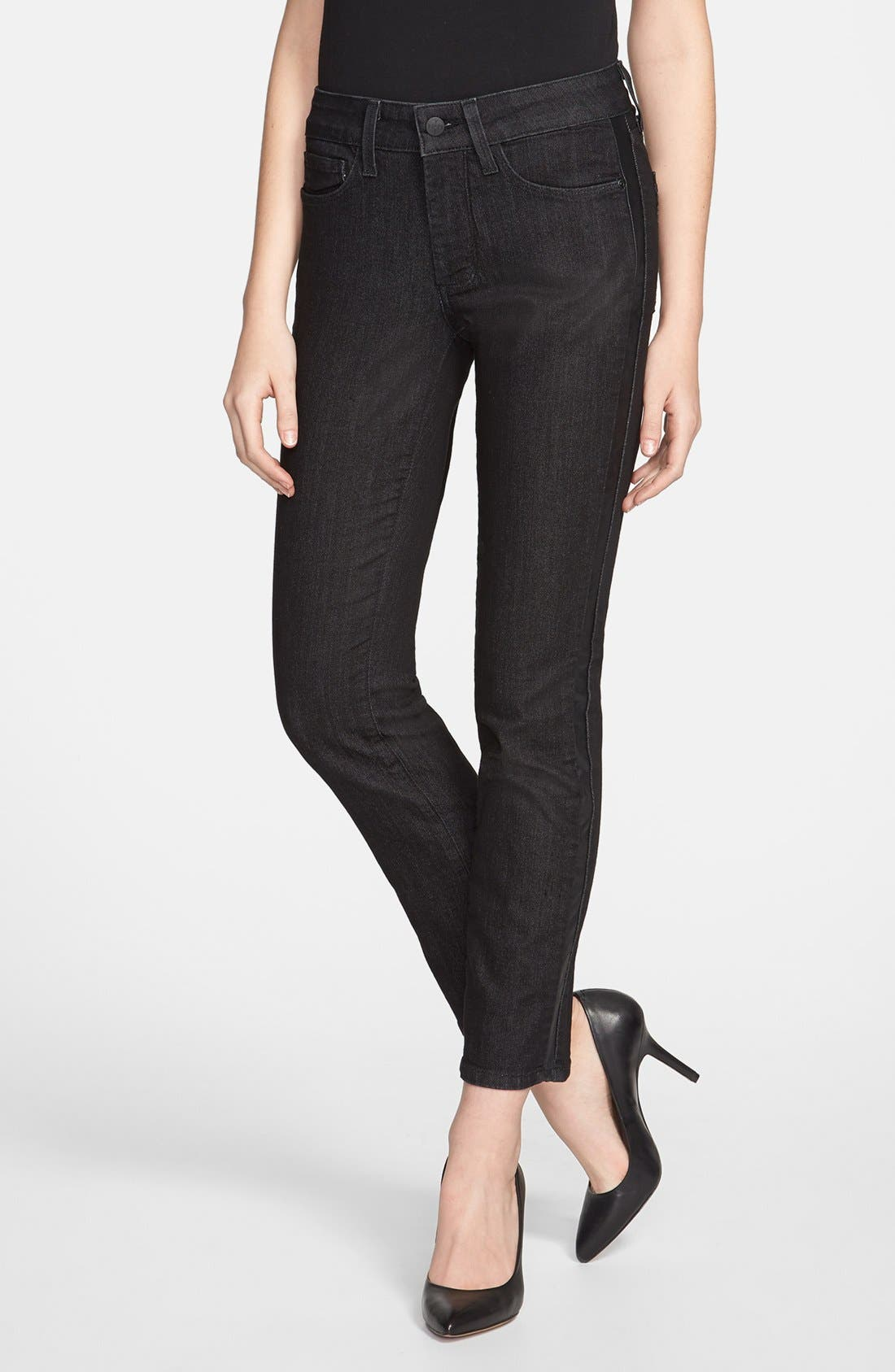 Alternate Image 1 Selected - NYDJ 'Sheri' Tuxedo Stripe Stretch Skinny Jeans (Black) (Petite)