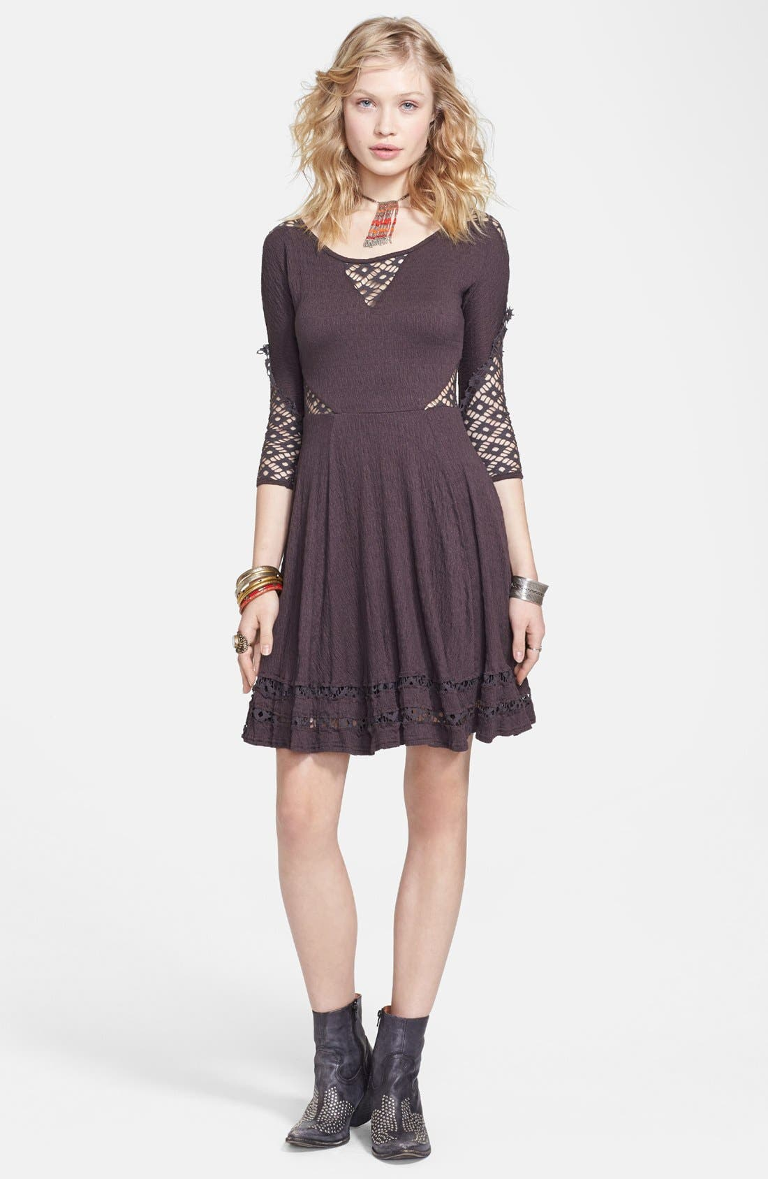Alternate Image 2  - Free People 'To the Point' Lace Inset Crinkled Fit & Flare Dress