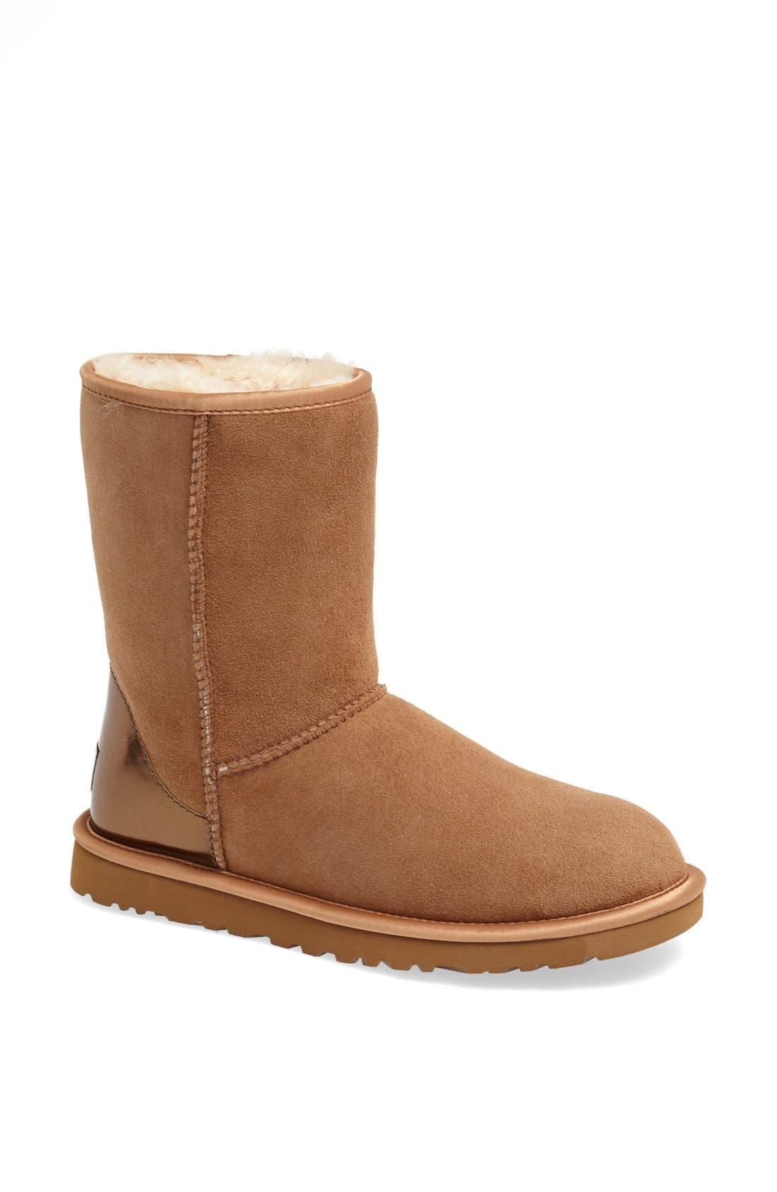 Alternate Image 1 Selected - UGG® Australia 'Classic Short' Metallic Patent Boot (Women)