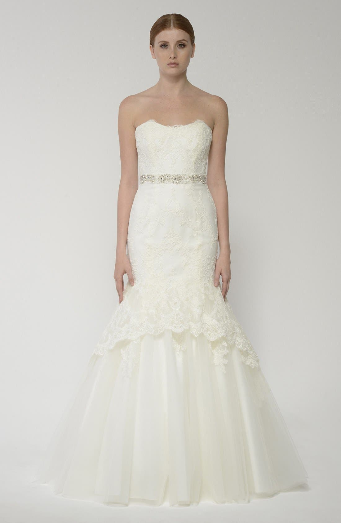 Alternate Image 4  - BLISS Monique Lhuillier Lace Overlay Tulle Trumpet Wedding Dress (In Stores Only)