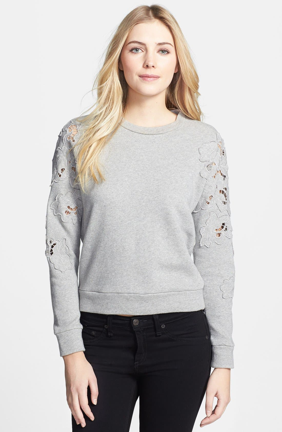 Alternate Image 1 Selected - Rebecca Taylor Floral Cutout Crop Sweatshirt