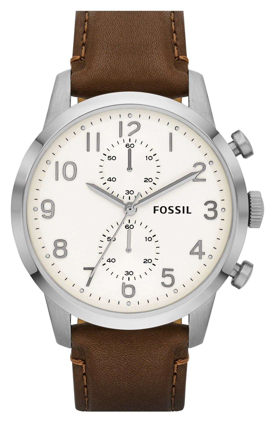 Main Image - Fossil 'Townsman' Round Leather Strap Watch, 44mm