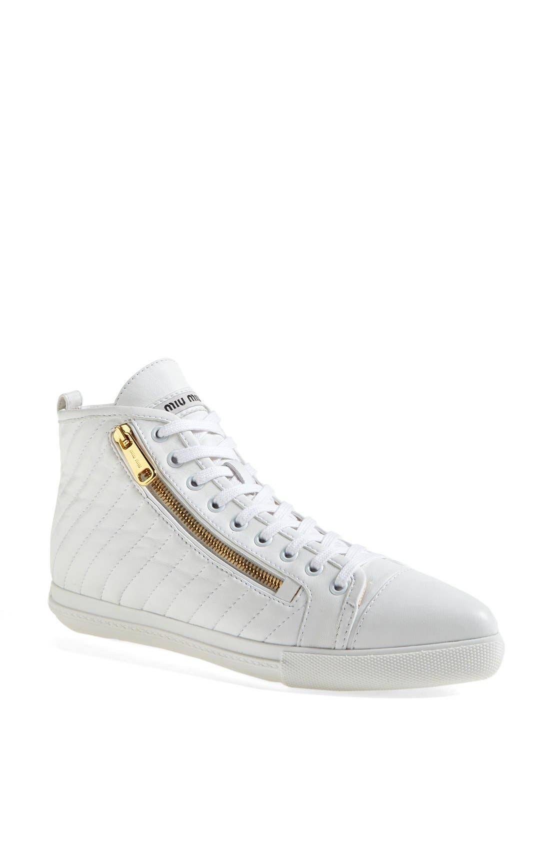 Alternate Image 1 Selected - Miu Miu Side Zip High Top Sneaker