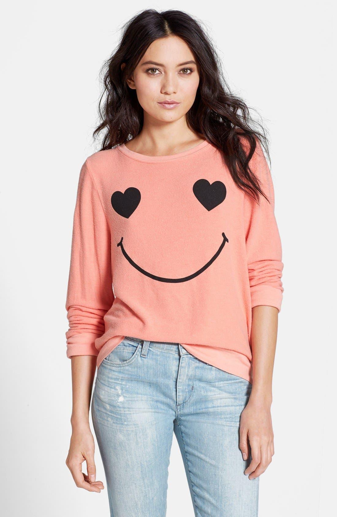 Main Image - Wildfox 'Happy Heart Face' Sweater