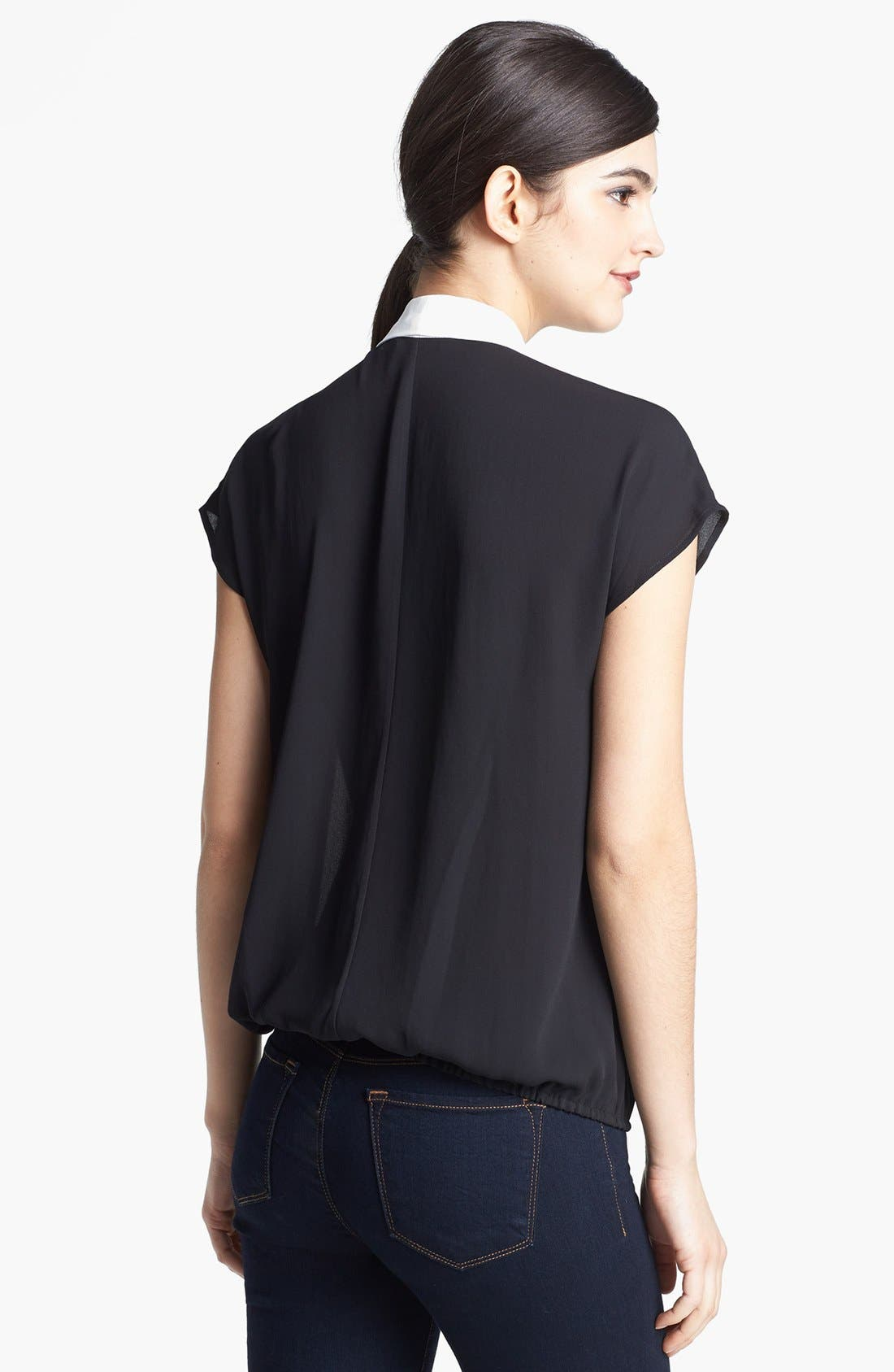 Alternate Image 2  - Ro & De Colorblock Faux Wrap Blouse (Petite)