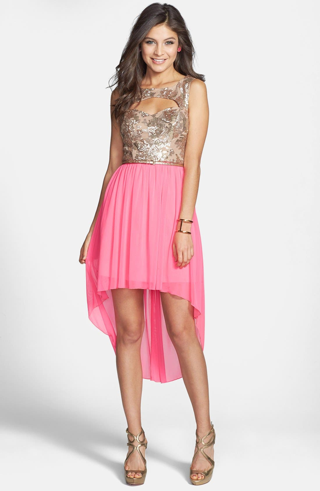 Alternate Image 1 Selected - Way-In Cutout Sequin Bodice High/Low Dress (Juniors) (Online Only)