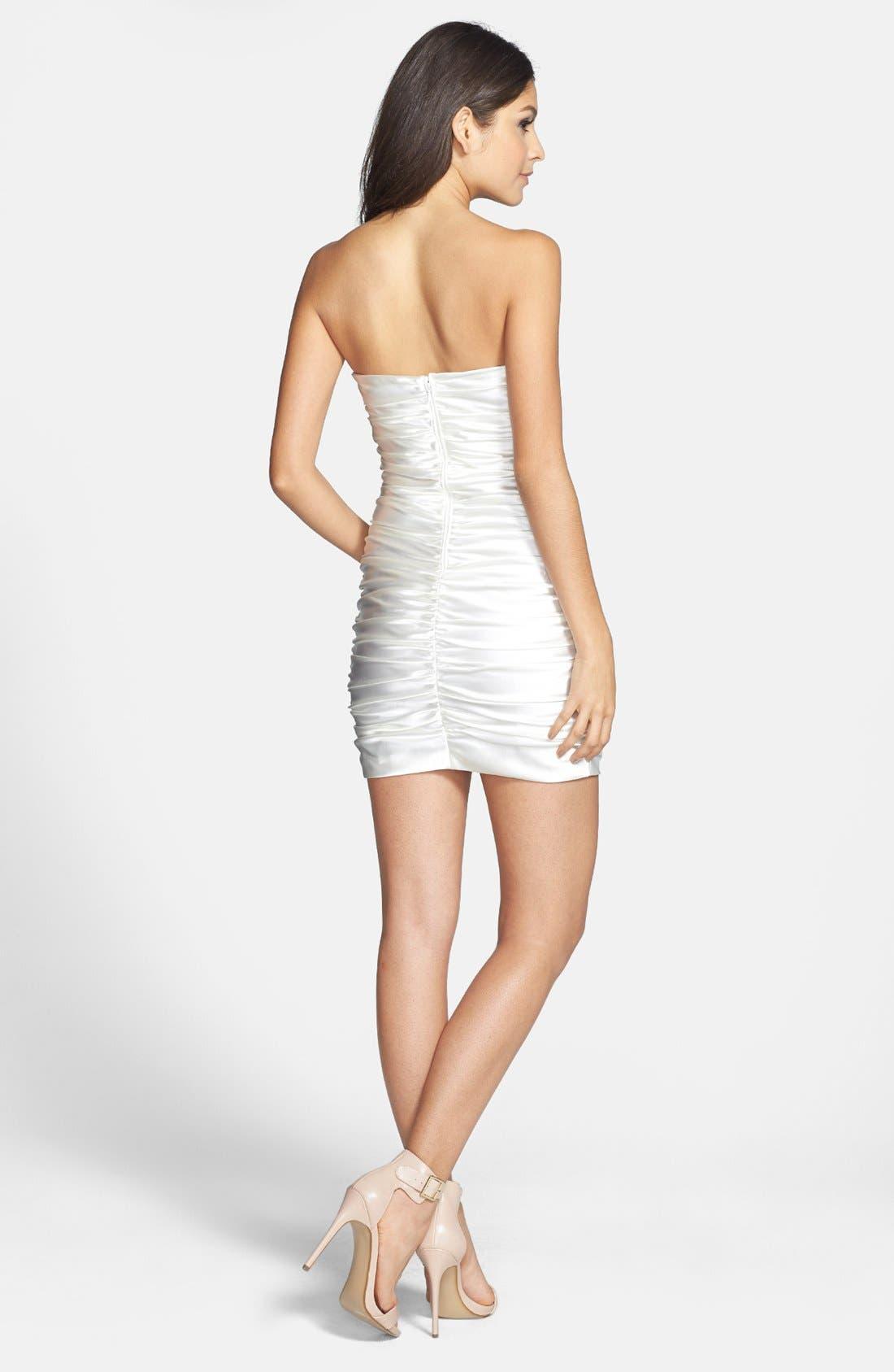 Alternate Image 2  - Hailey Logan Strapless Ruched Body-Con Dress (Juniors)
